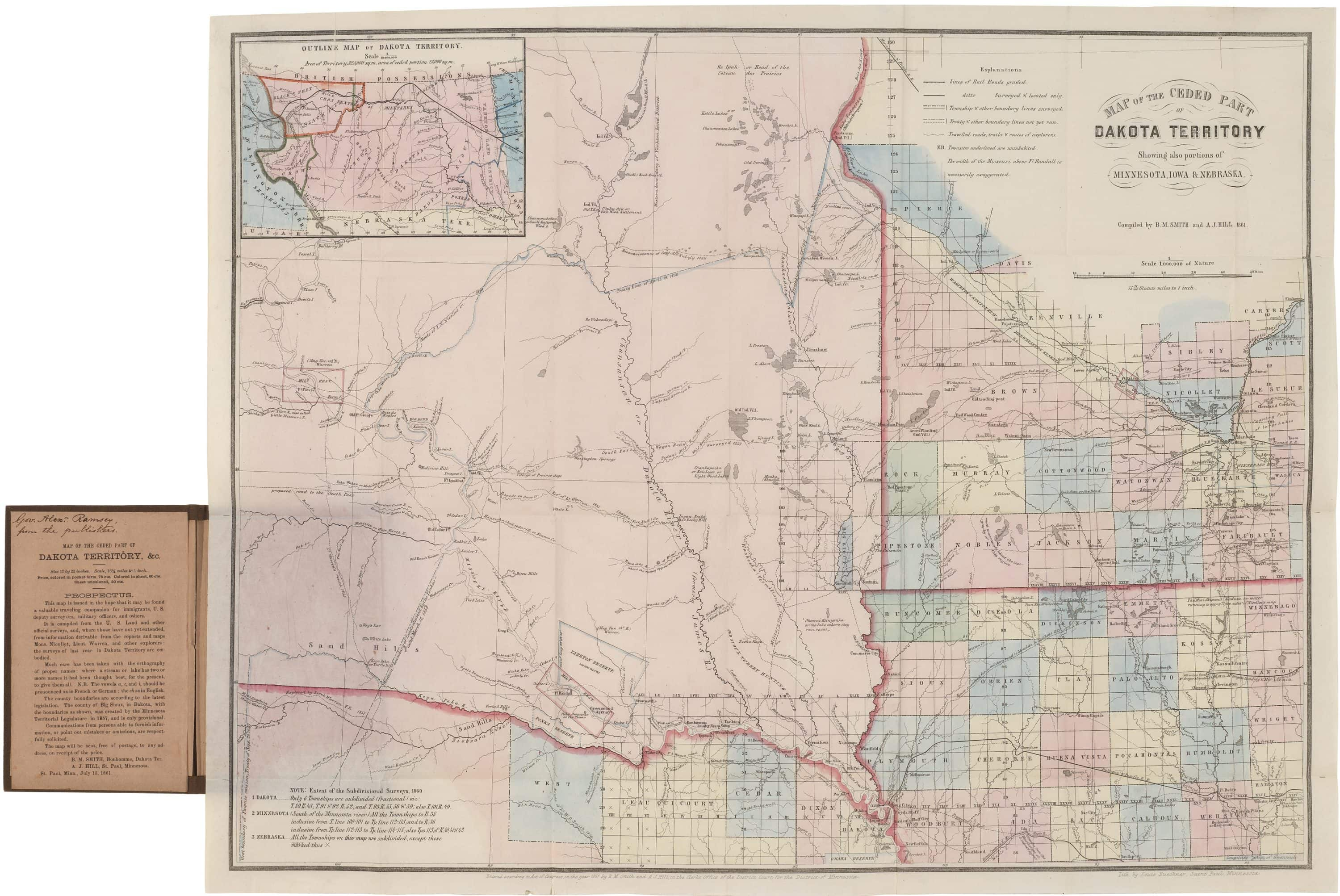 With the first printed map of Dakota Territory, showing