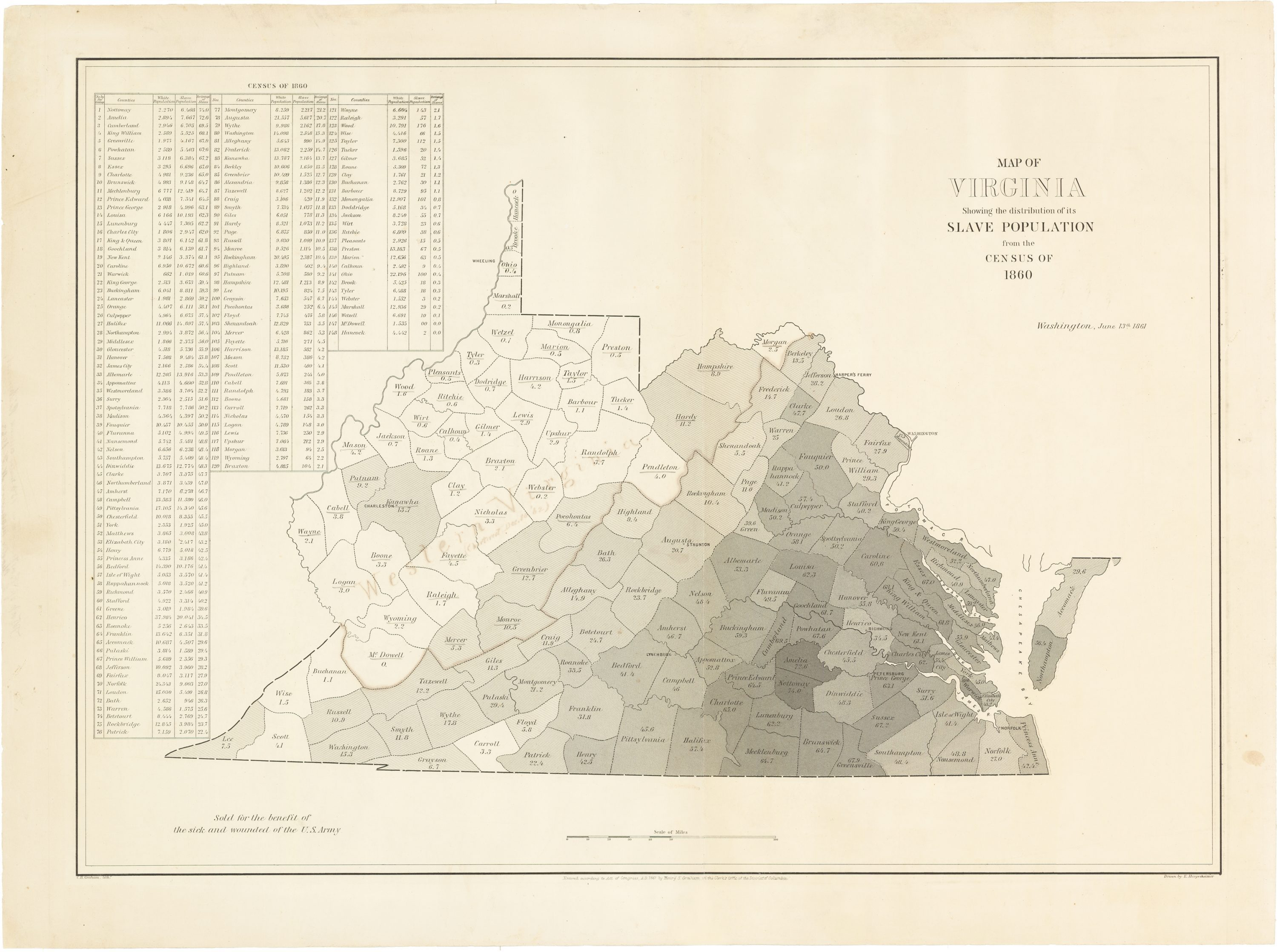 Charting The Distribution Of Slavery In Virginia During The 1861 - Map-of-the-us-in-1861