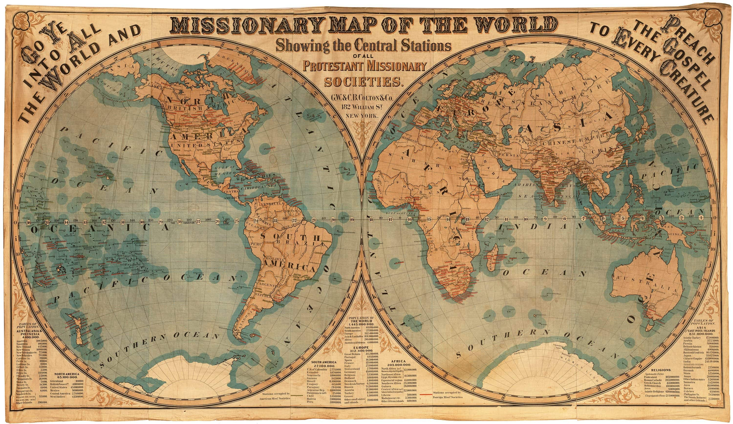 Mammoth 1878 Missionary Map of the World on cloth - Rare & Antique Maps