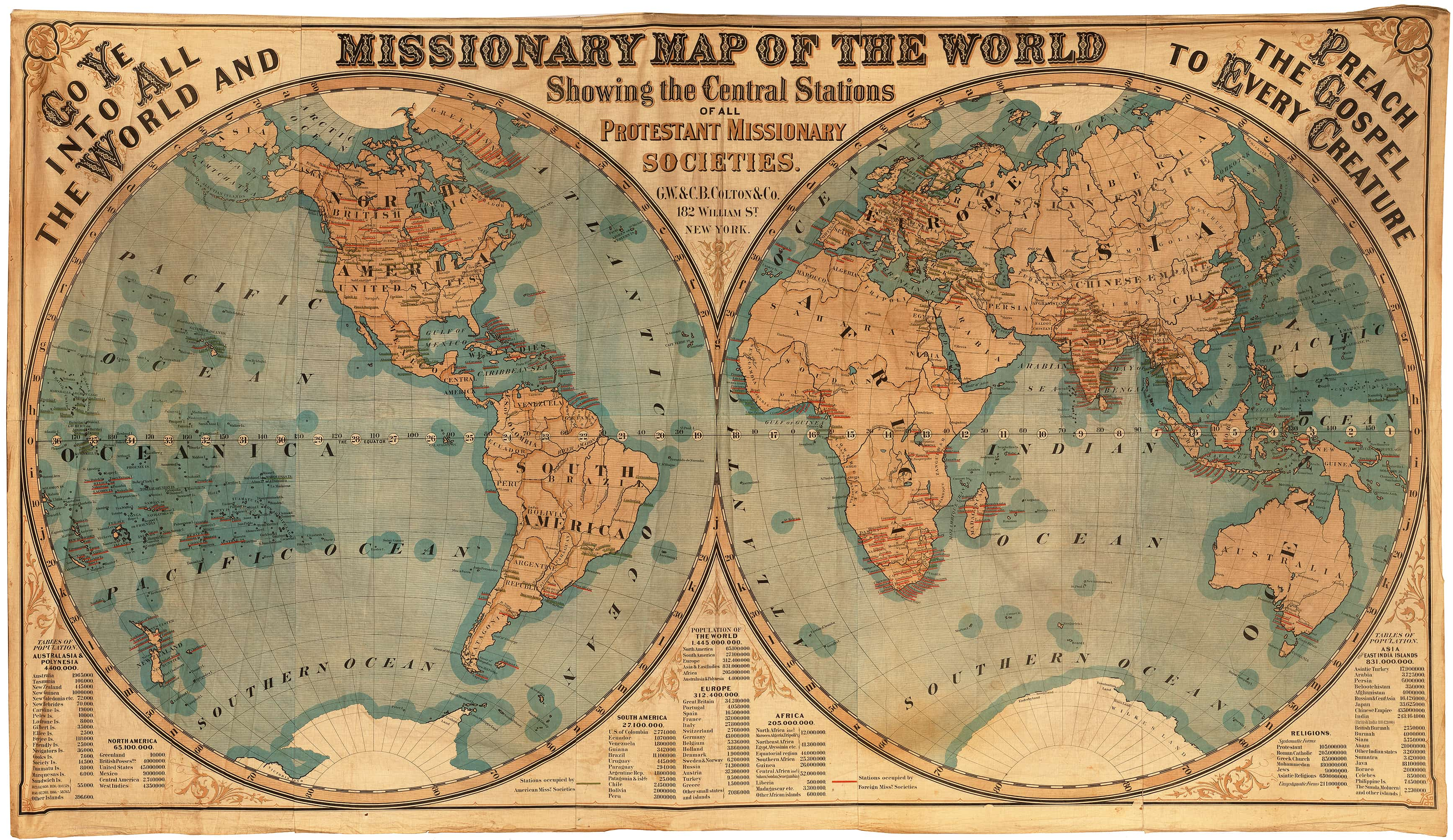 Mammoth 1878 Missionary Map Of The World On Cloth Rare
