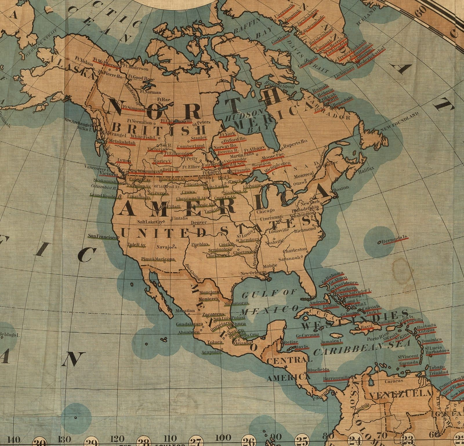 Map Of The World In Detail.Mammoth 1878 Missionary Map Of The World On Cloth