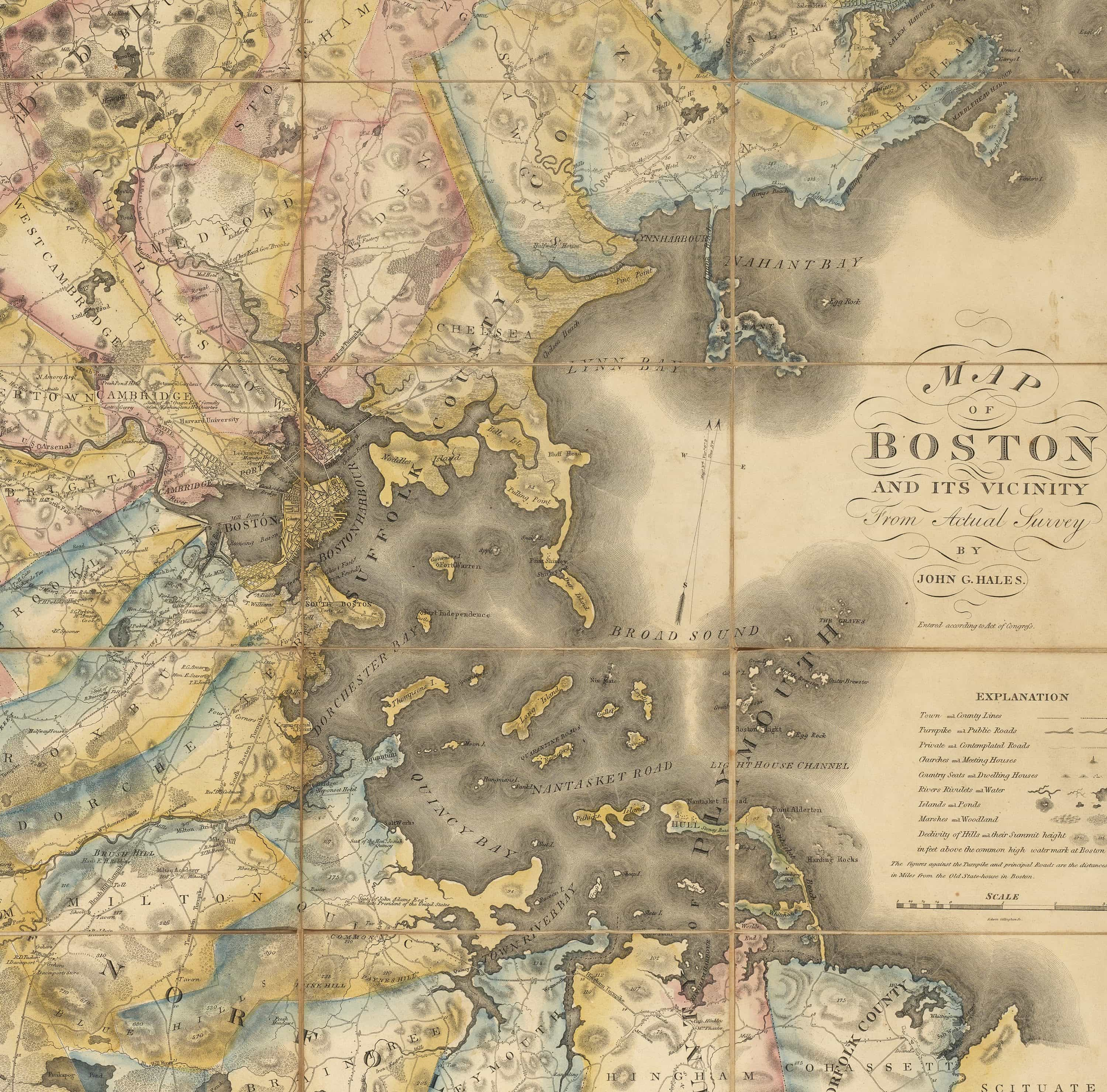 Superb map of the Boston area by John G Hales Rare Antique Maps
