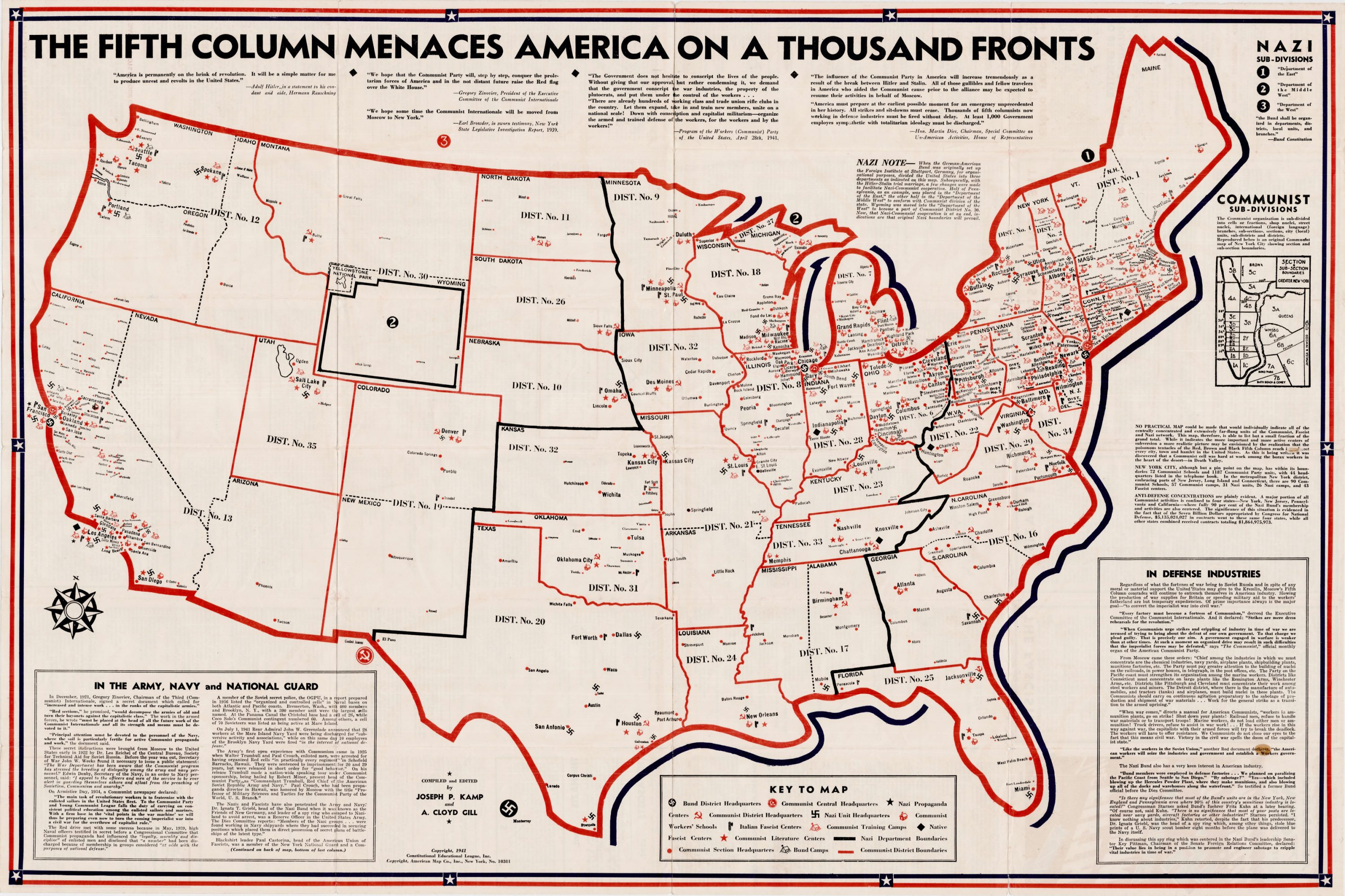 Anti-Communist map by the Constitutional Education League - Rare
