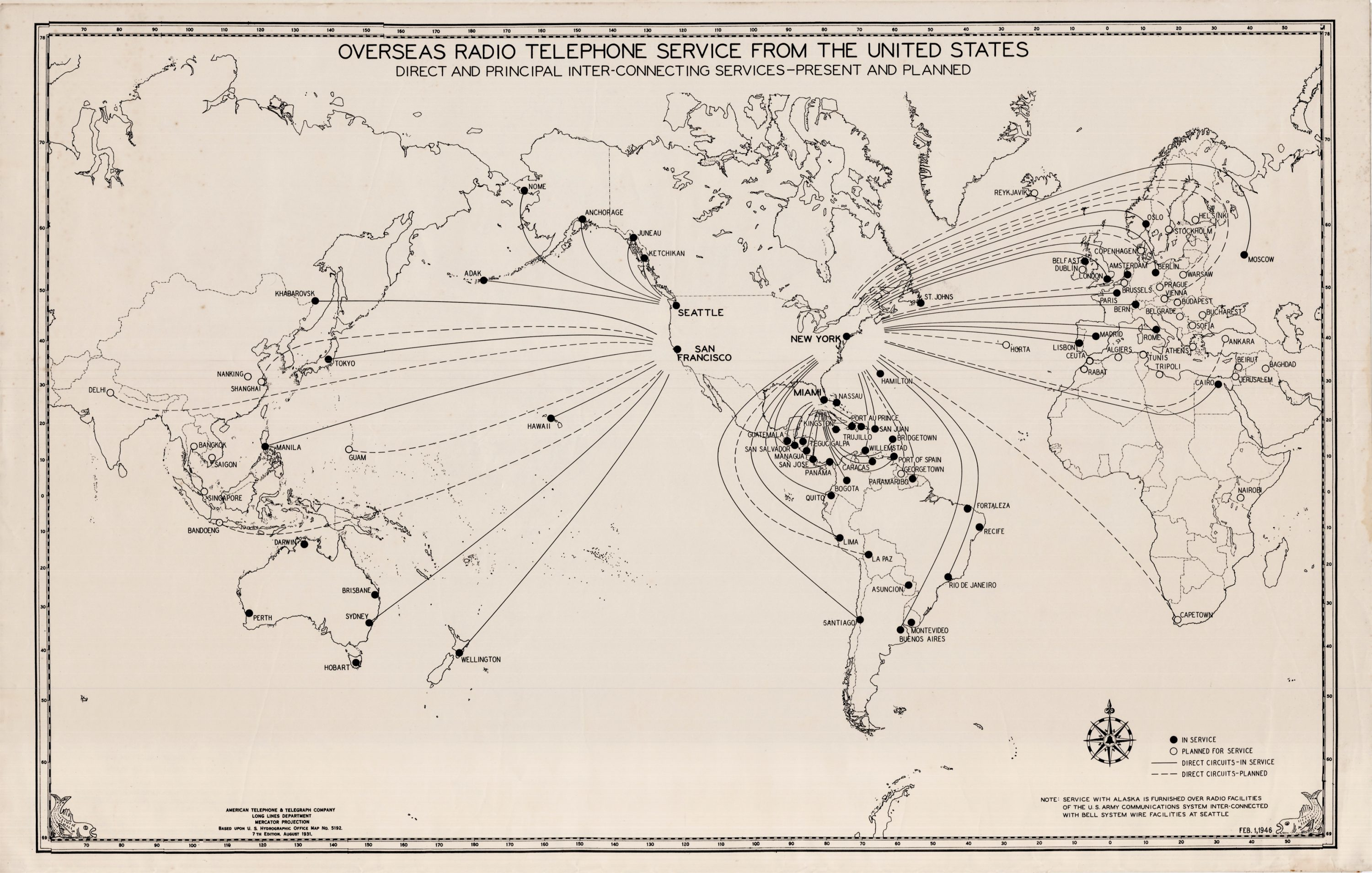 The worldwide AT&T radio telephone network as of 1946 - Rare ...