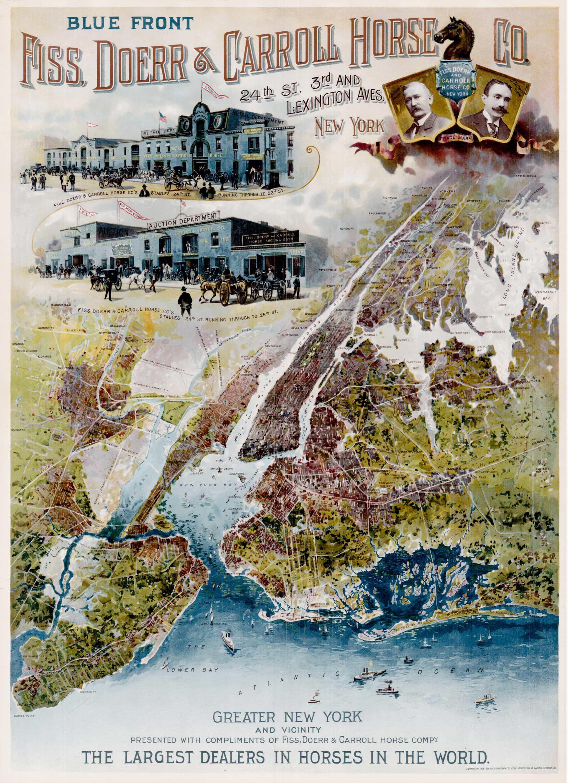 Handsome Advertising Broadside For Horse Dealers Fiss Doerr - Antique map dealers