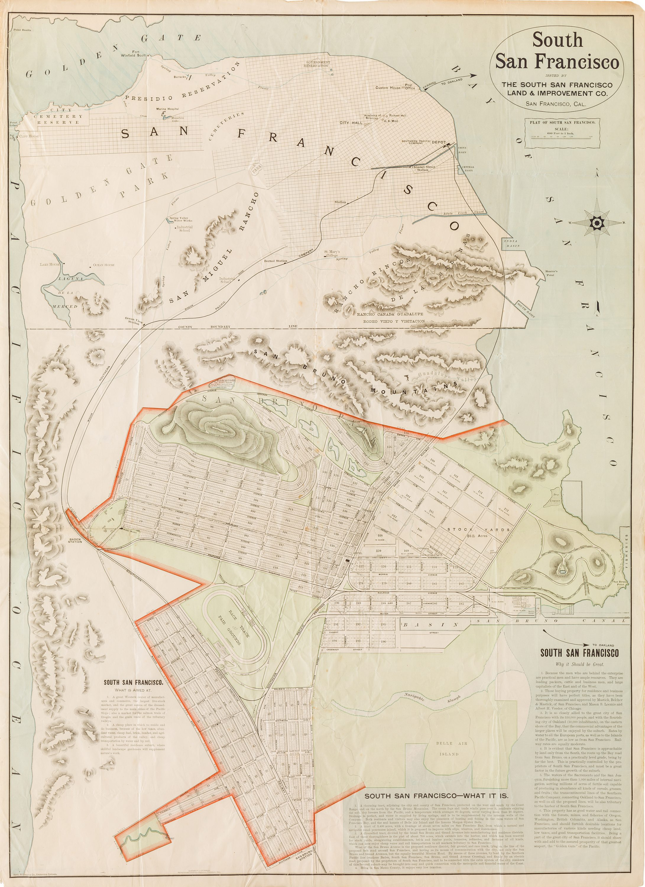 Rand McNally map promoting the development of South San Francisco