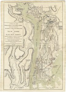 Claude Joseph Sauthier (surveyor) / William Faden (engraver), A PLAN OF THE OPERATIONS OF THE KING'S ARMY under the Command of GENERAL SR. WILLIAM HOWE, K.B. IN NEW YORK AND EAST NEW JERSEY, against the AMERICAN FORCES Commanded By GENERAL WASHINGTON, From the 12th of October, to the 28th of November 1776. Wherein is particularly distinguished THE ENGAGEMENT on the WHITE PLAINS, the 28th of October. London: William Faden, Feb. 25th, 1777.