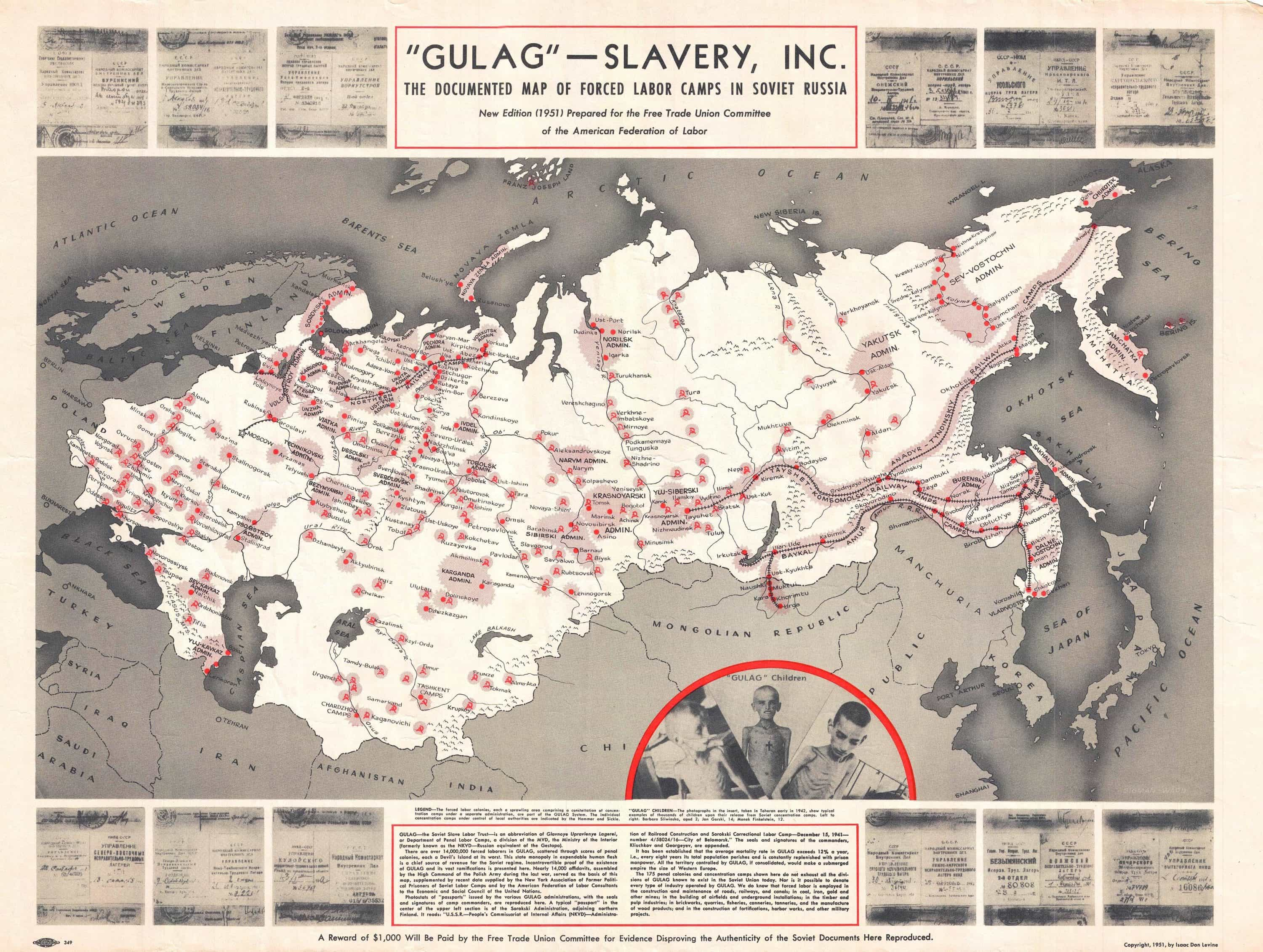 Anti munist propaganda map of the Soviet Gulag Rare & Antique Maps