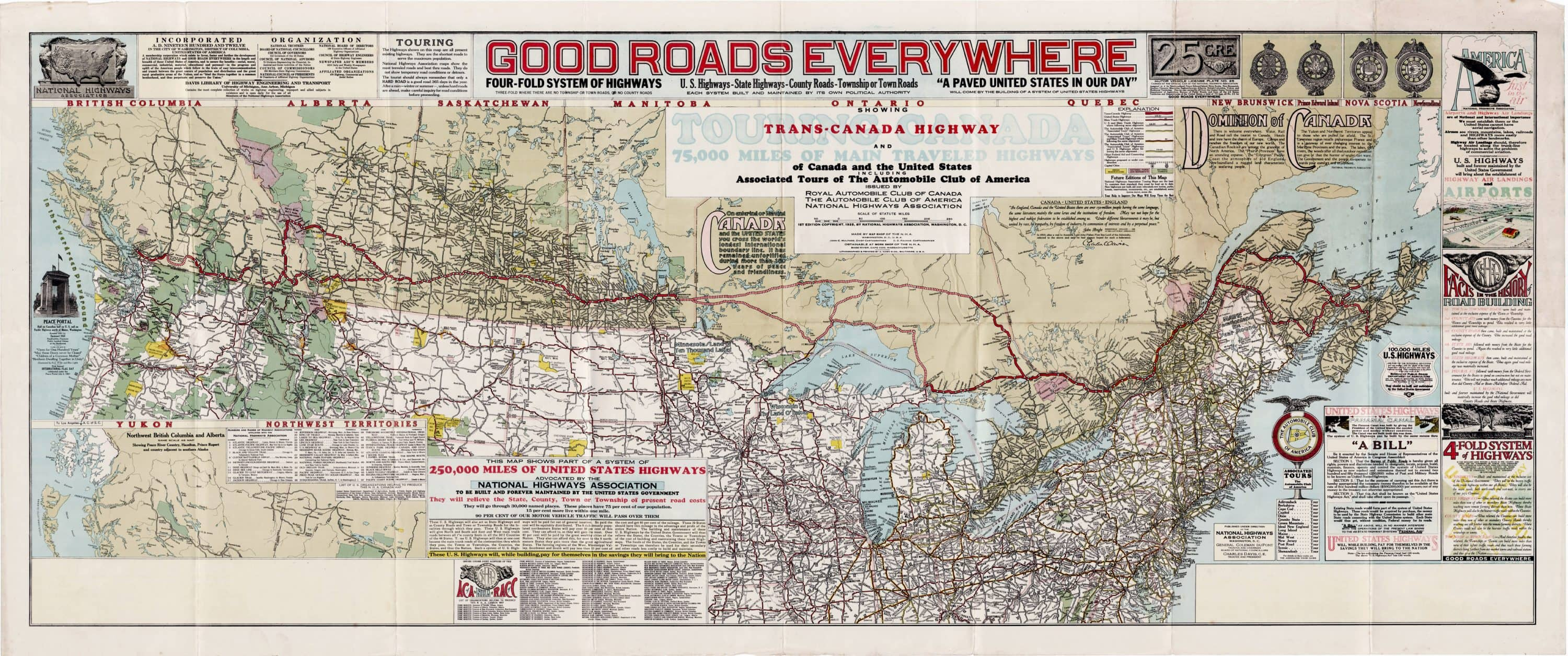 Map Of Canada Roads.1928 Map Featuring A Proposed Trans Canada Highway Rare Antique Maps