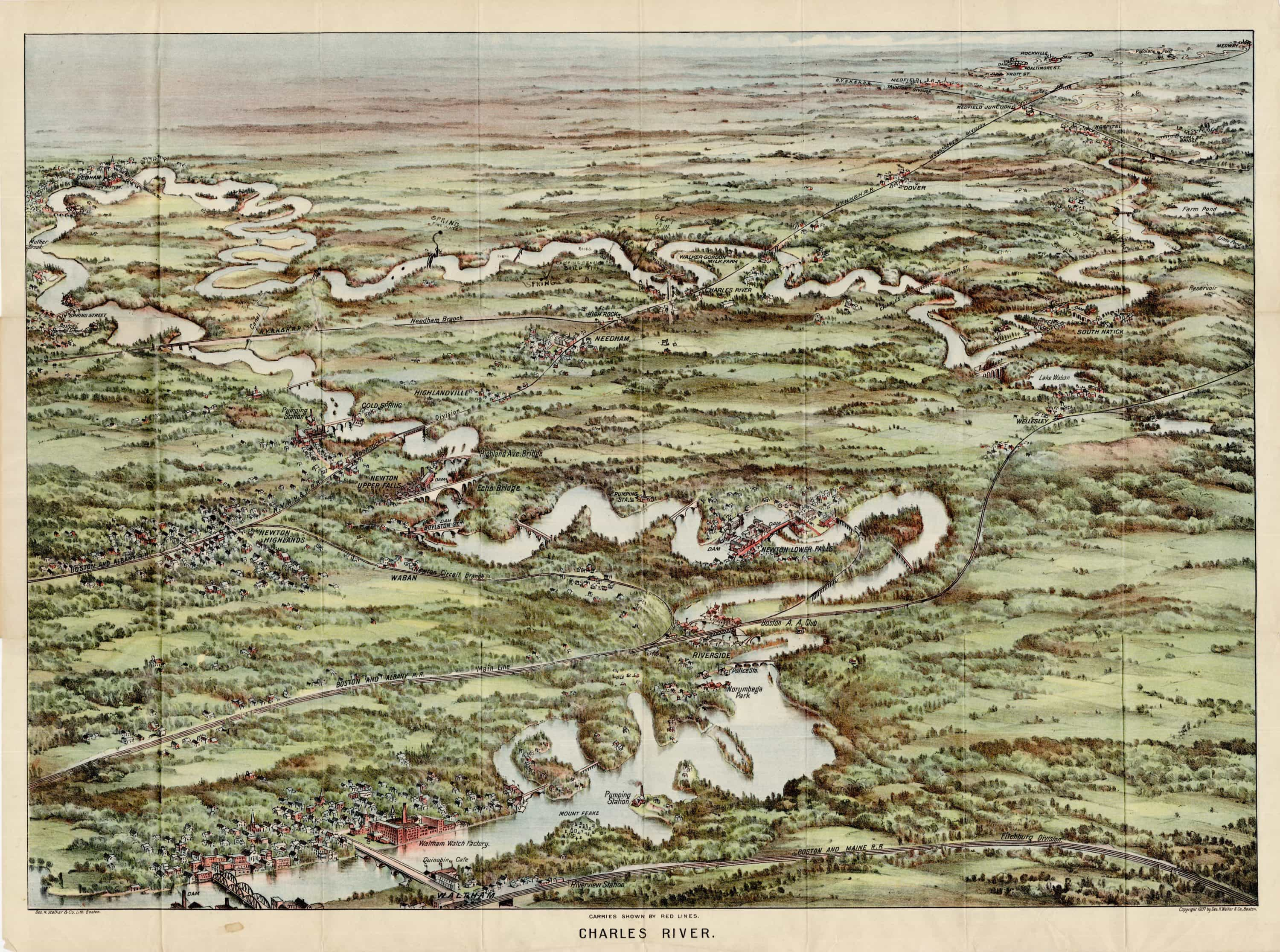 1907 birds-eye view of the Charles River, annotated by an early user ...