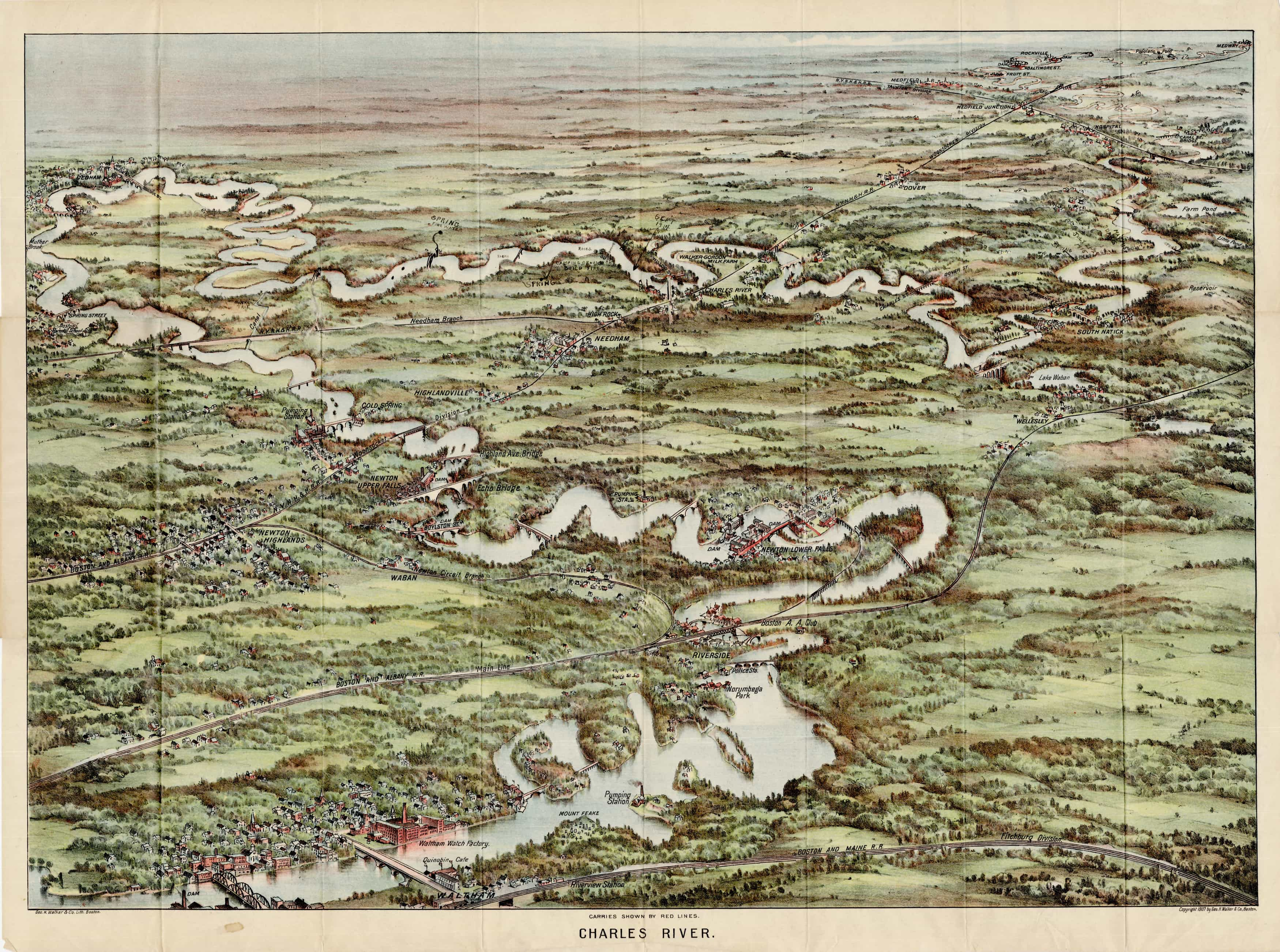 1907 birds-eye view of the Charles River, annotated by an early user on