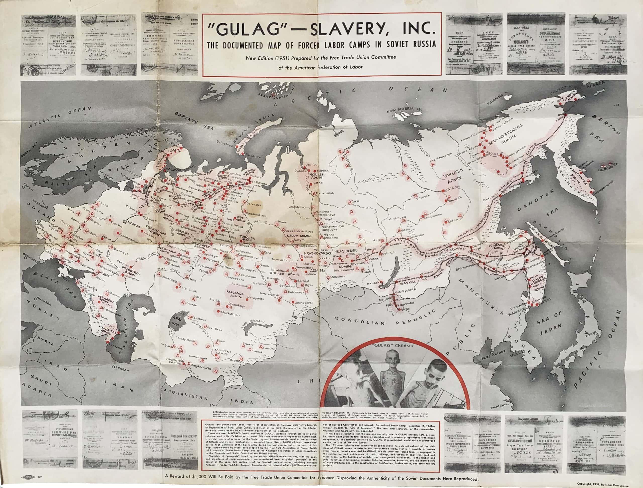 Picture of: Anti Communist Propaganda Map Of The Soviet Gulag Rare Antique Maps