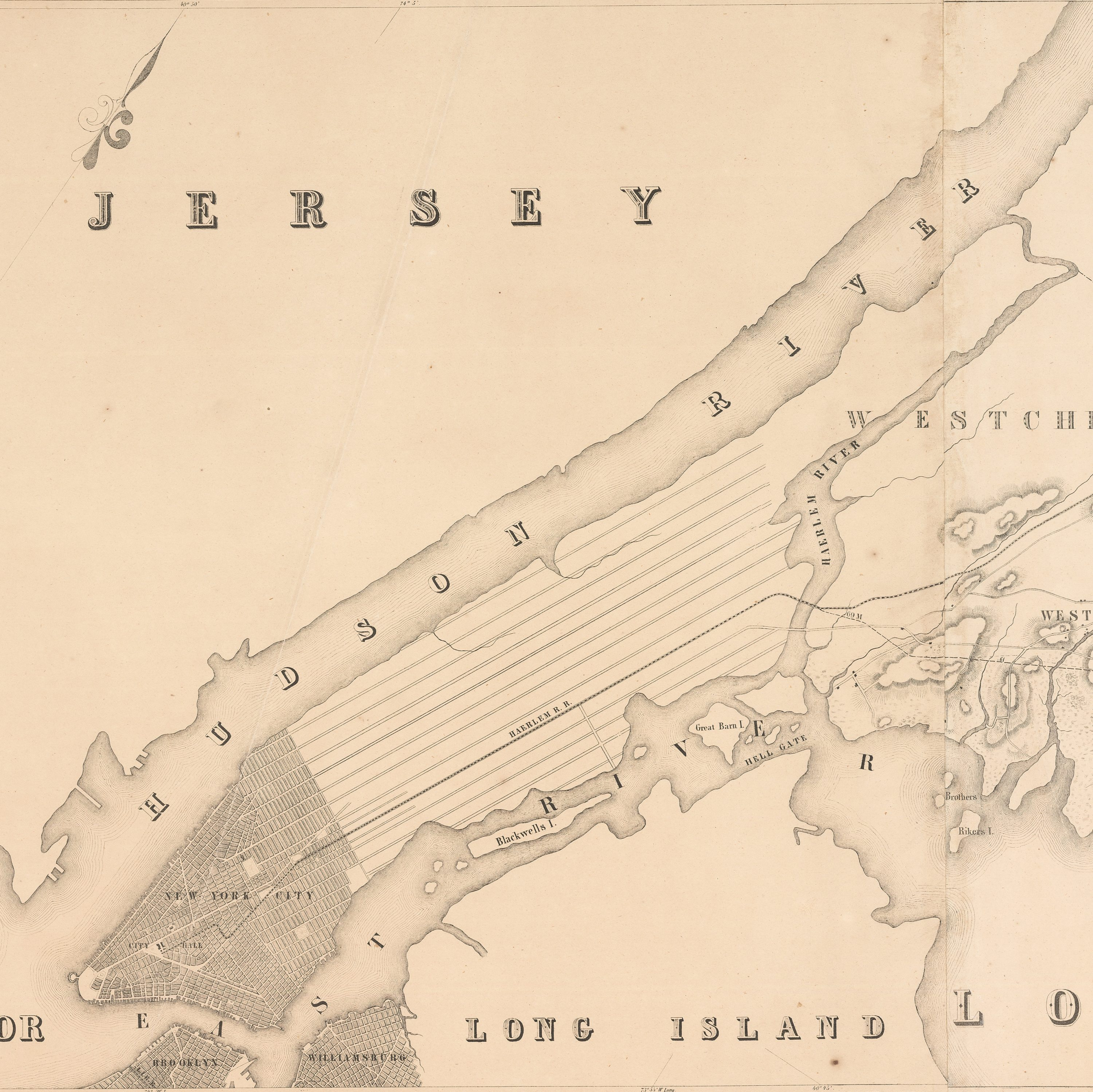1845 Map Of The New York And New Haven Railroad    10 Feet Long