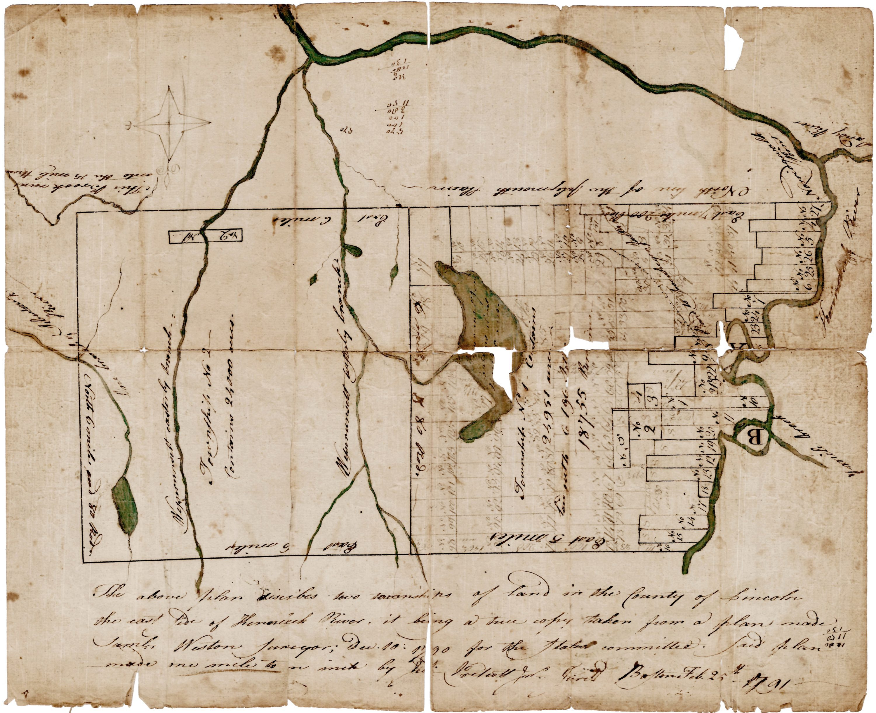 18th Century Survey Of Two Townships On The Kennebec River Maine