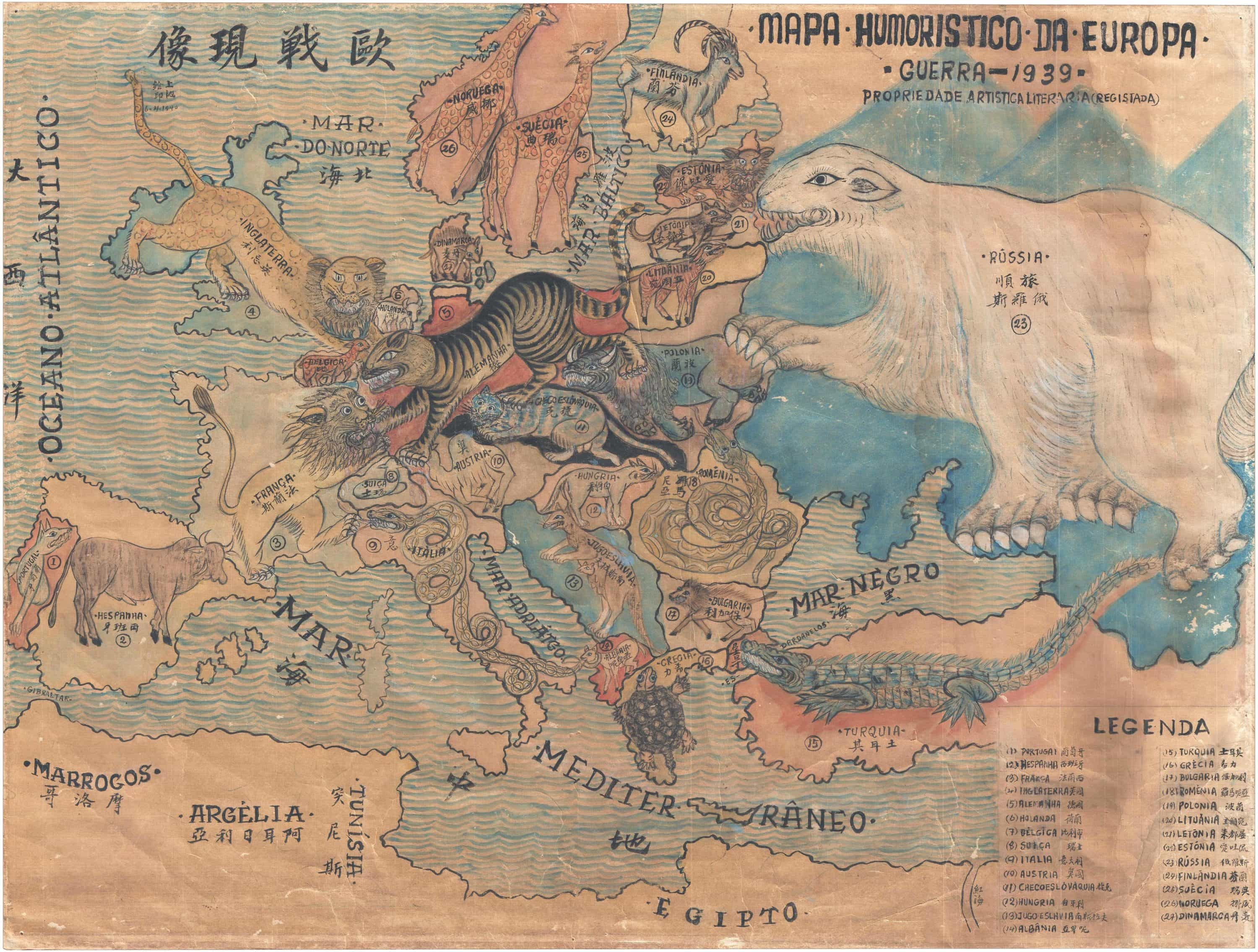 Unique Manuscript Zoomorphic Map Of Europe In Chinese And