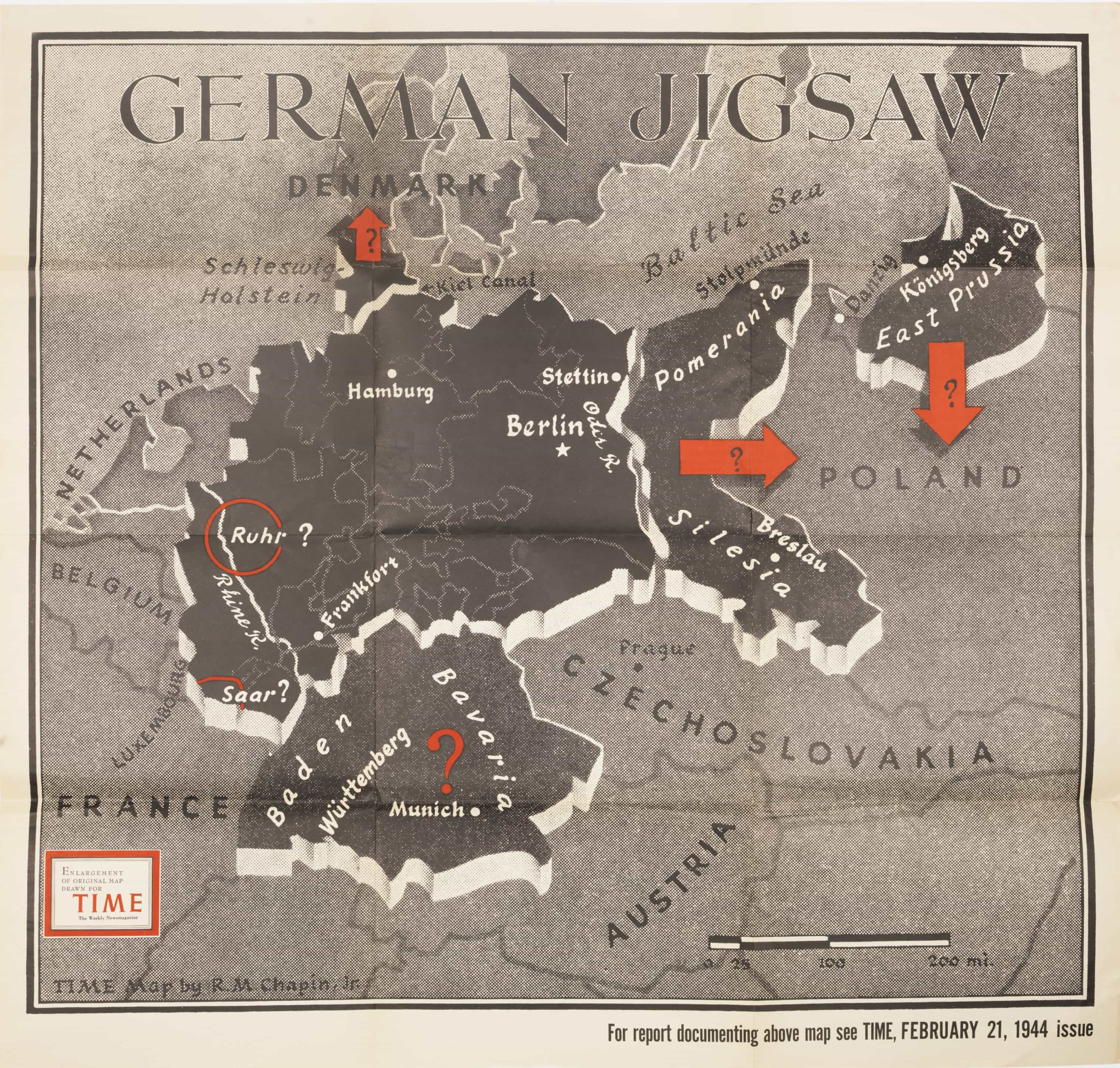 Map Of Germany Post Ww2.Time Magazine Map Of The Post Wwii German Jigsaw Rare