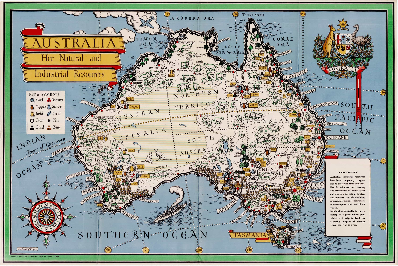 MacDonald Gill propaganda map of Australia - Rare & Antique Maps
