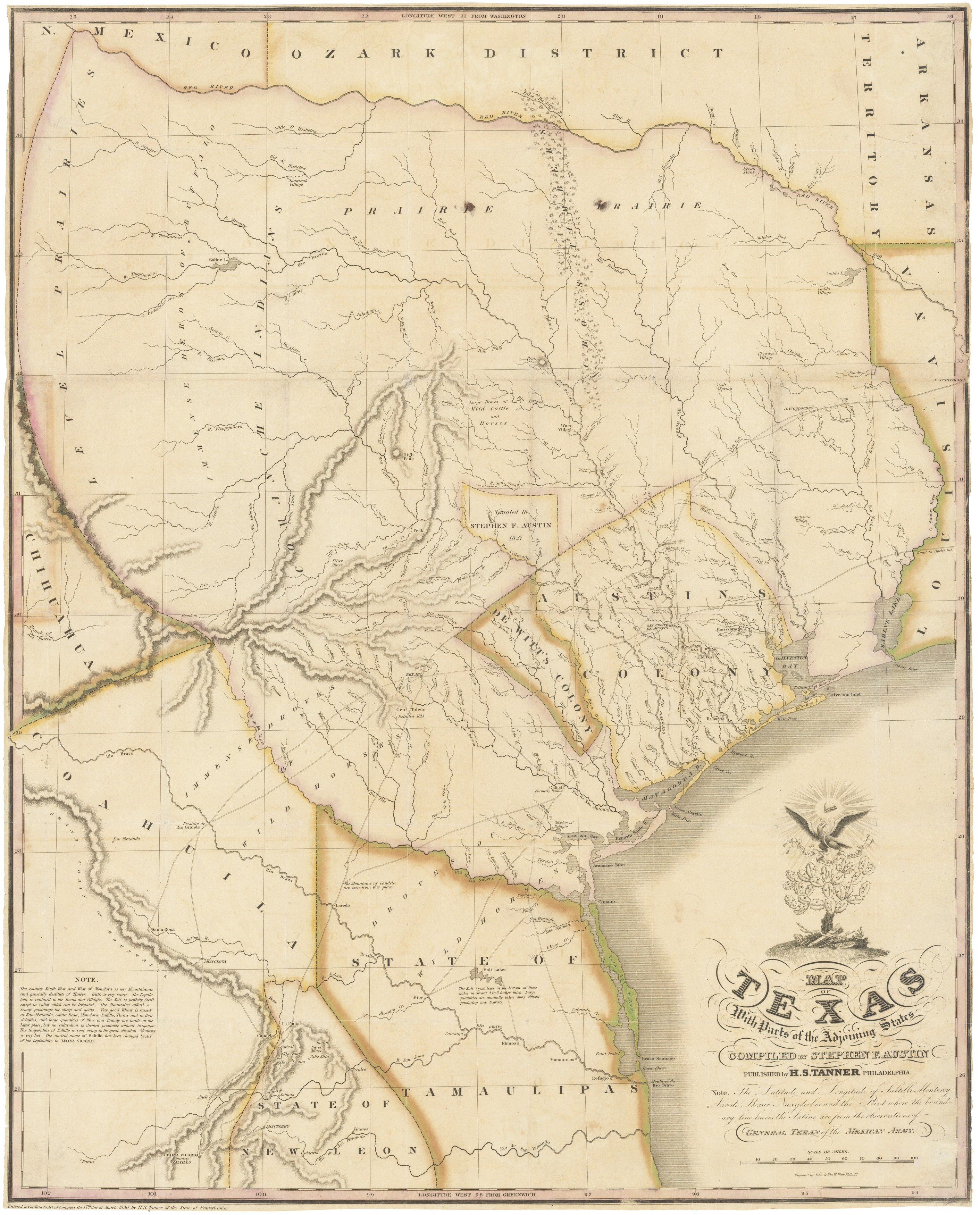 Map Of Texas Showing Austin.1830 First Edition Of The Austin Map Of Texas The Map Of