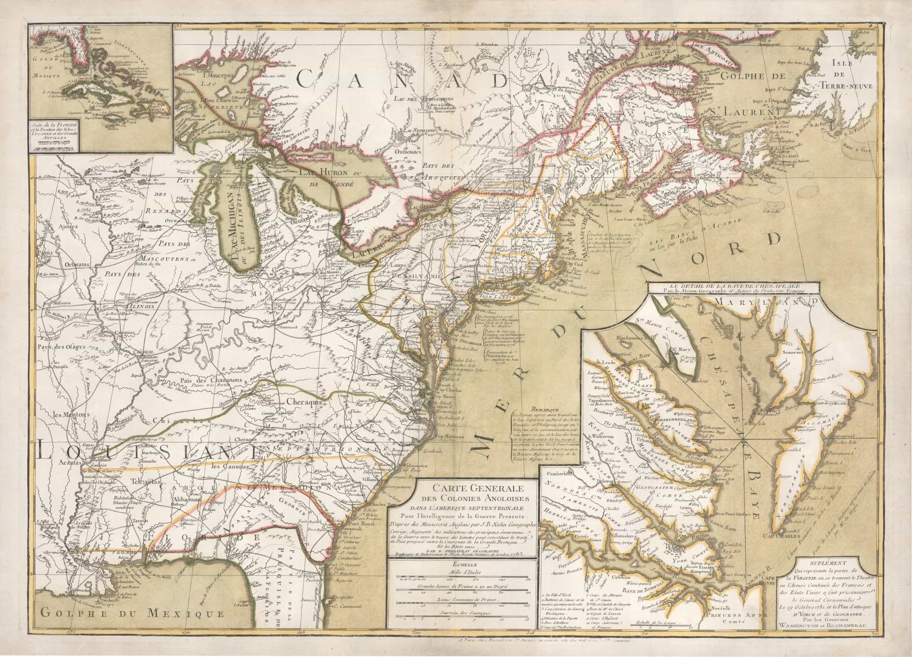 Rare 1783 map of the United States, with a large Yorktown inset