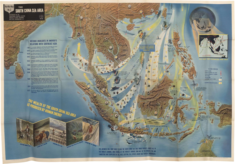 Nav War Maps of the Mediterranean and South China Sea - Rare ...