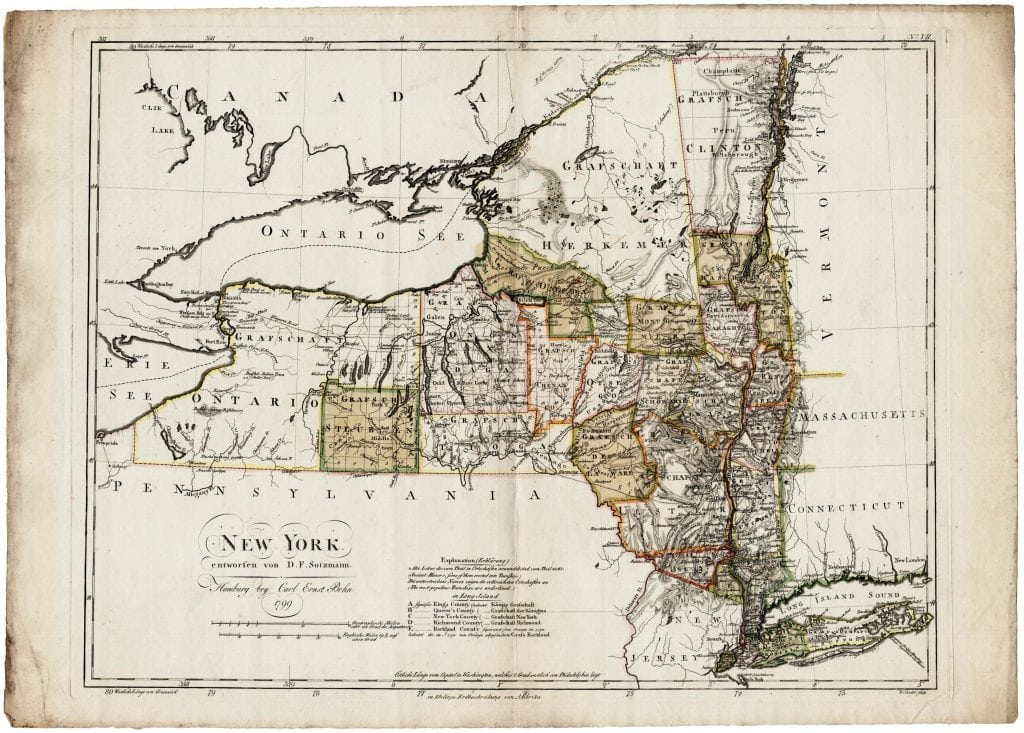 The Ebeling – Sotzmann map of New York State - Rare ...