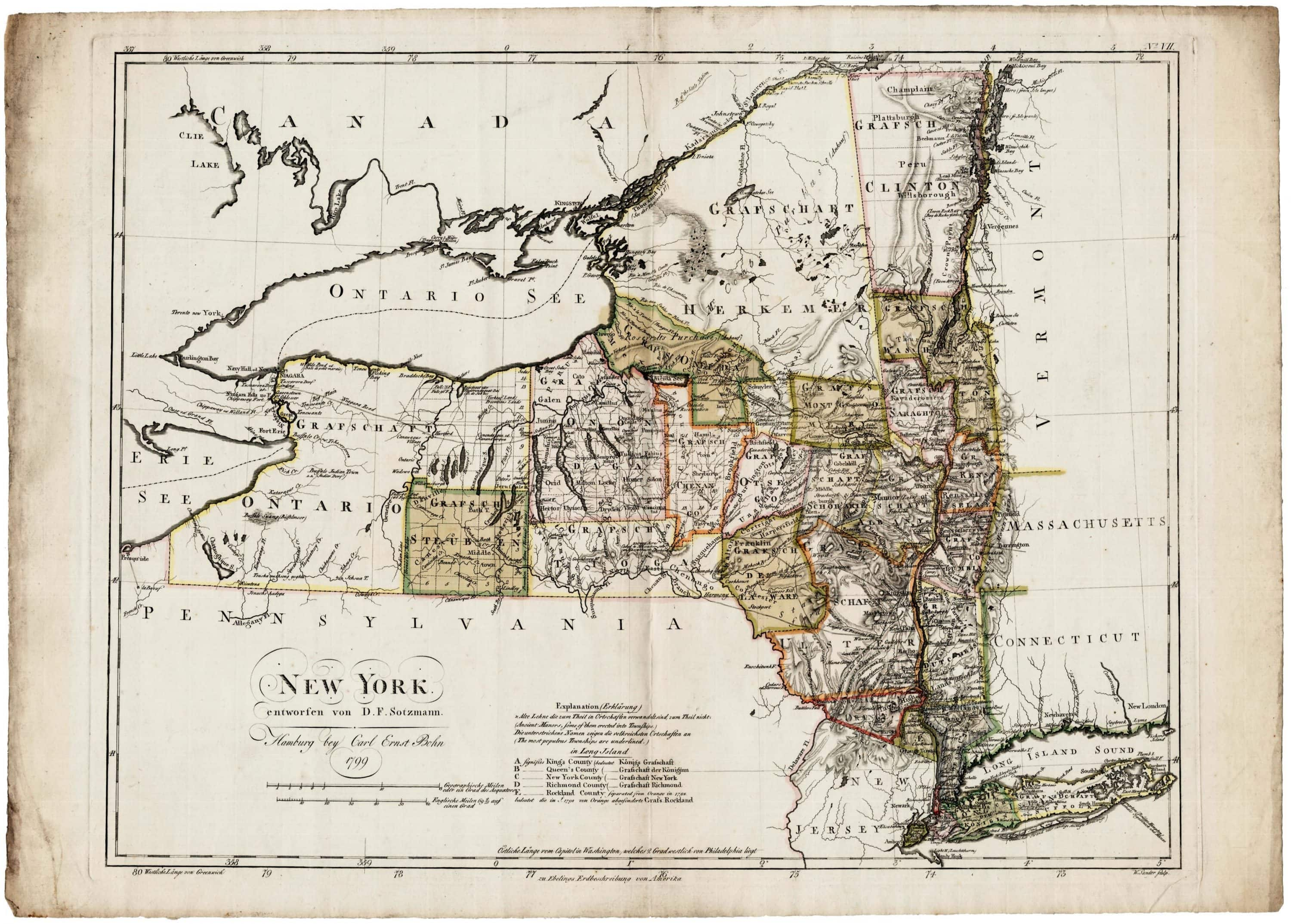 Detailed Map Of New York State on