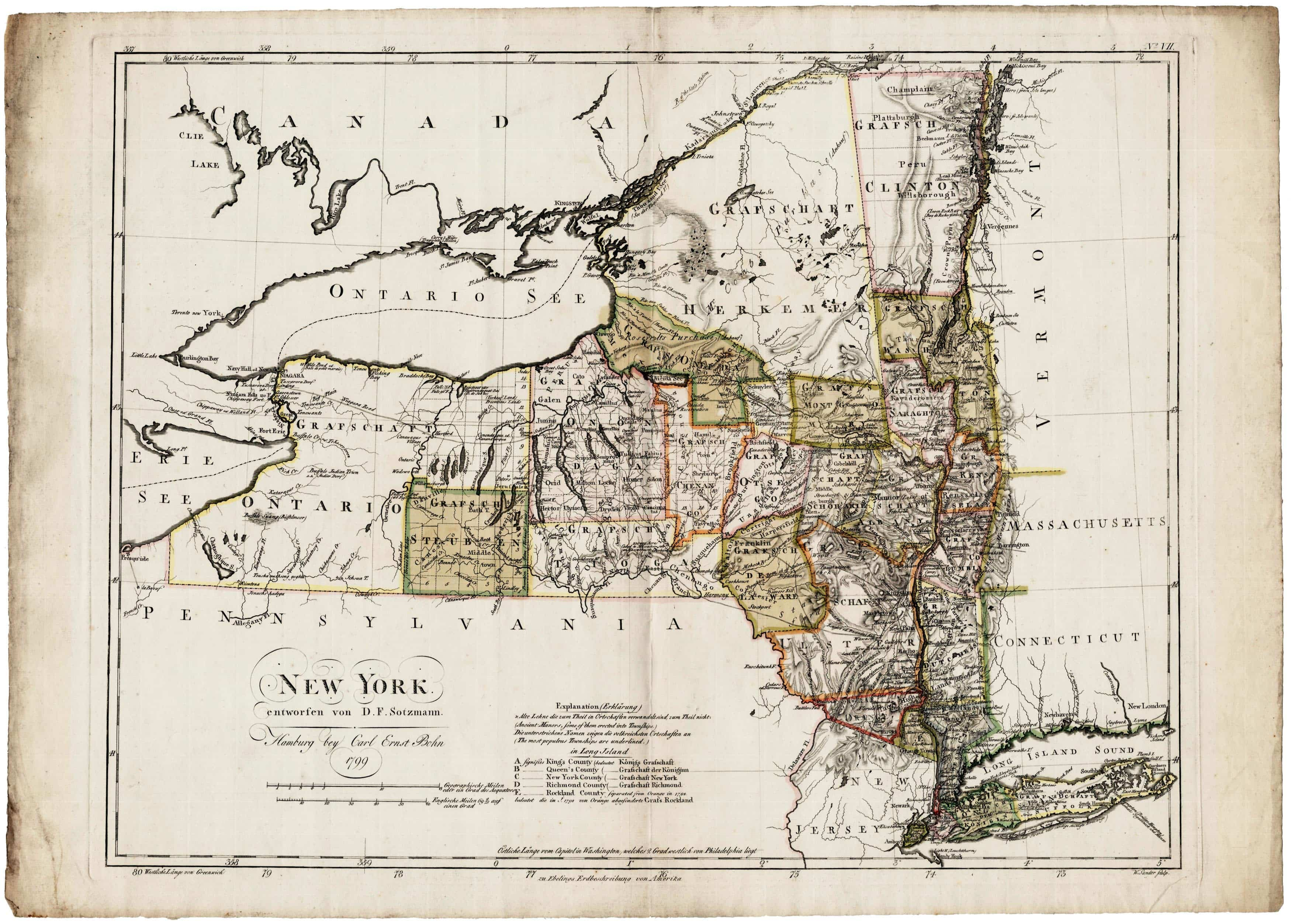 The Ebeling  U2013 Sotzmann Map Of New York State