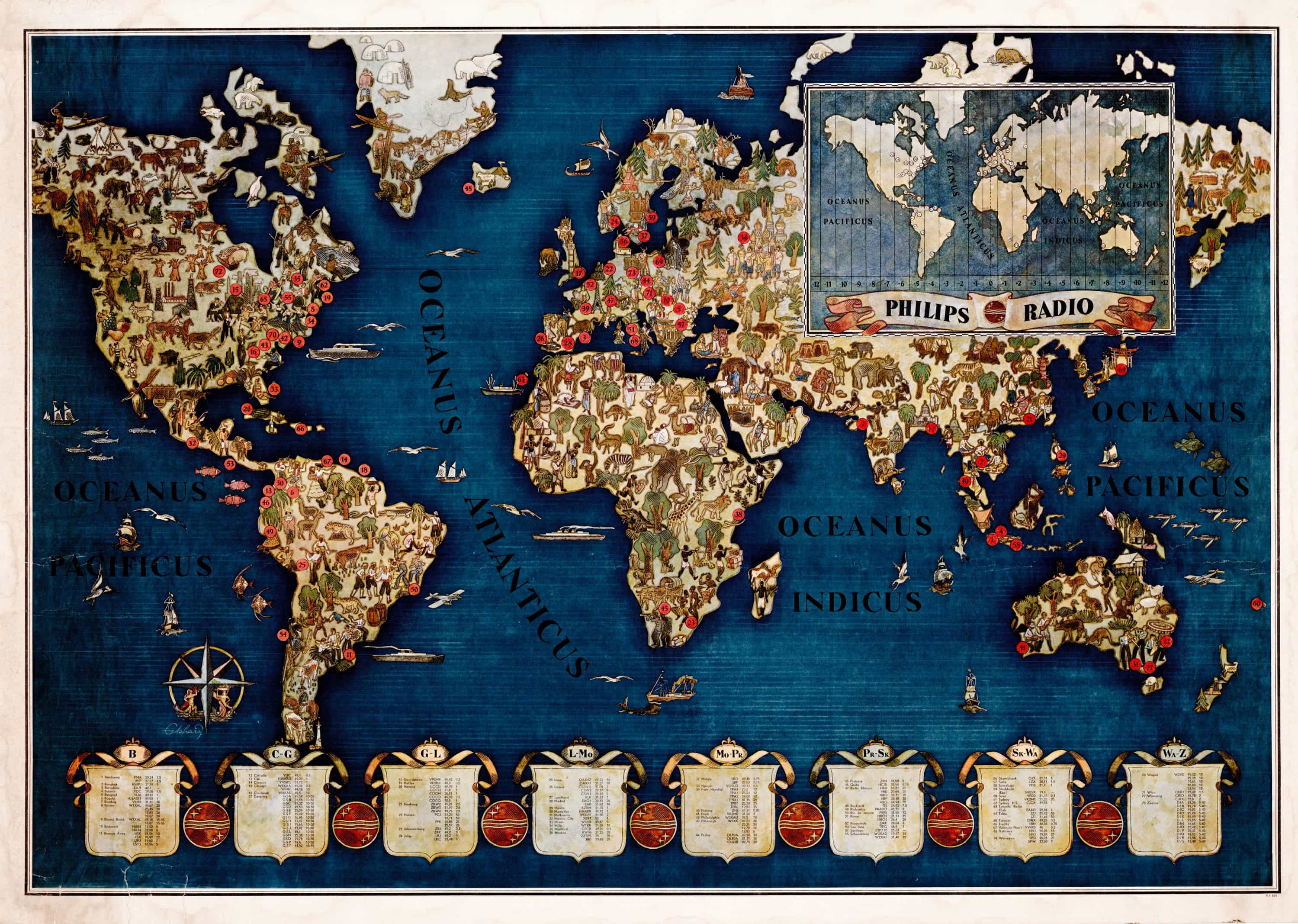 Spectacular philips pictorial map of the global shortwave radio spectacular philips pictorial map of the global shortwave radio network gumiabroncs Gallery