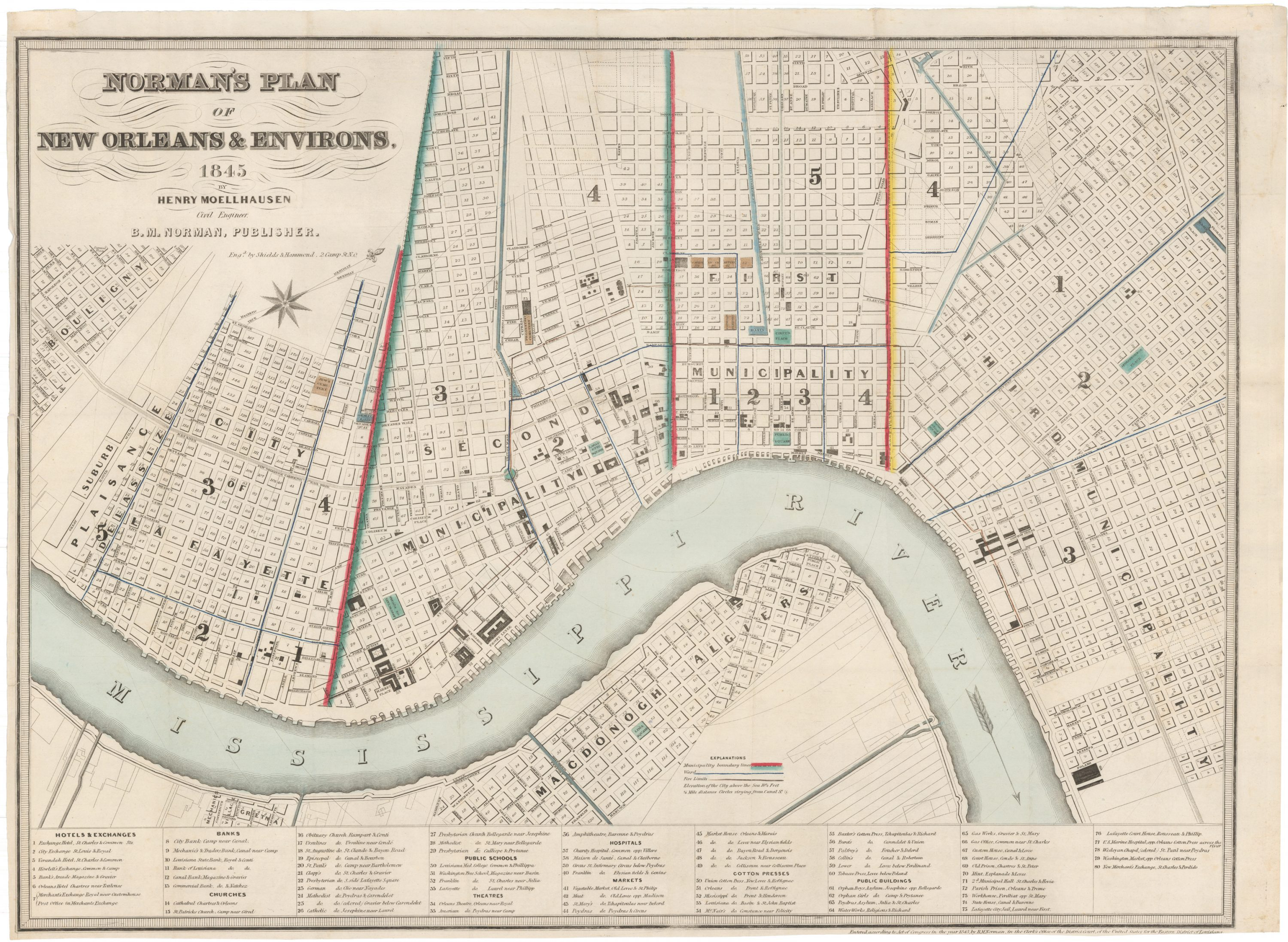 Antique New Orleans Map.A Rare And Important Plan Of New Orleans By Henry Moellhausen