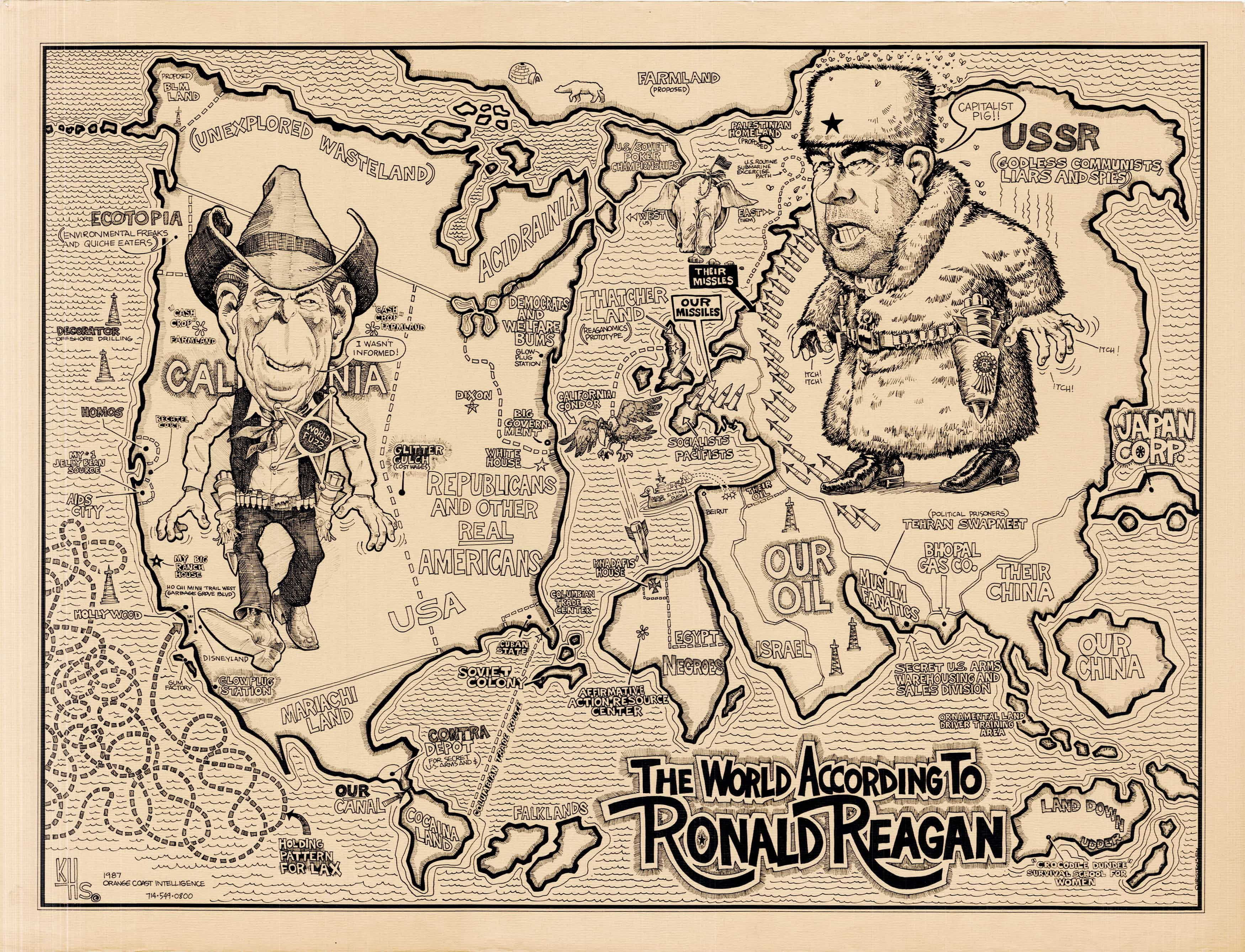 unrecorded 1987 map of the world according to ronald