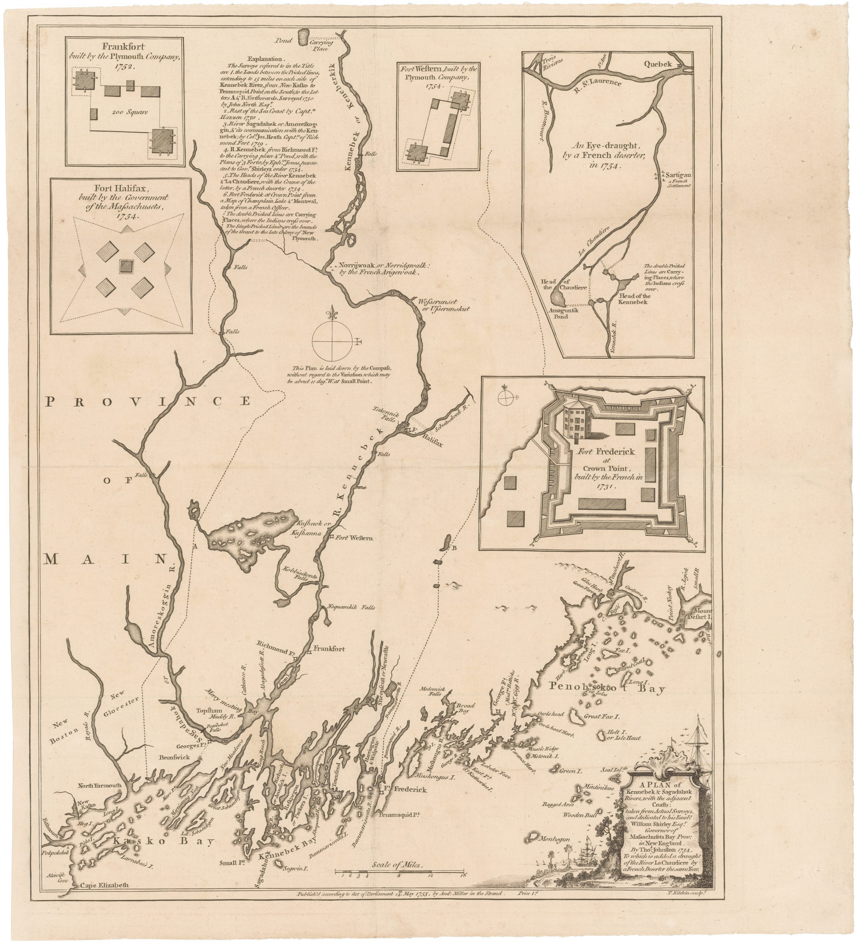 A Colonial Maine Rarity 1755 Plan Of The Kennebec Region In Maine