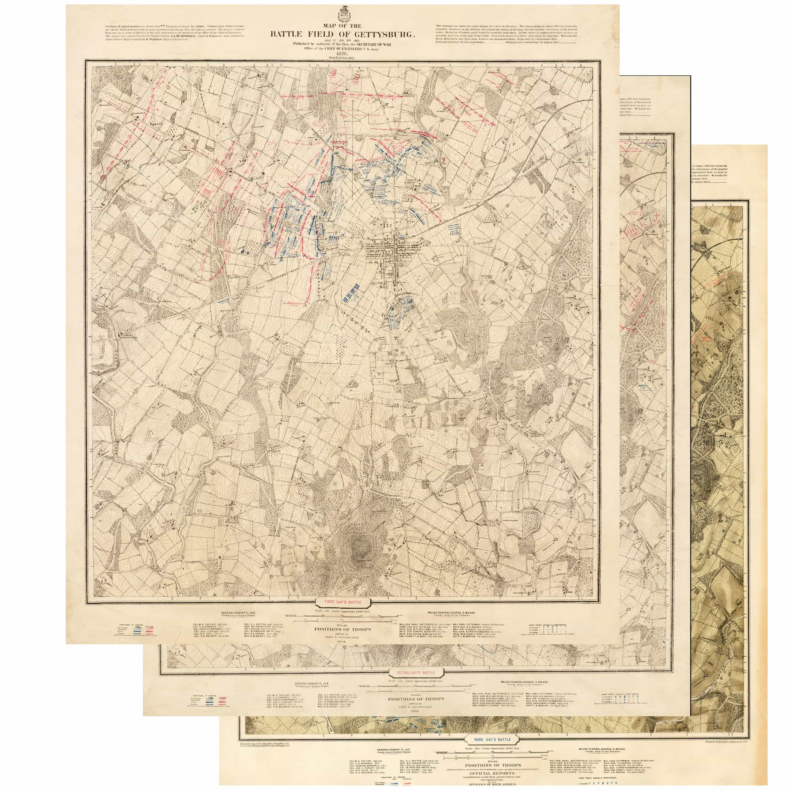 Gettysburg Topographic Map.Bachelder S Monumental Maps Of The Battle Of Gettysburg Rare