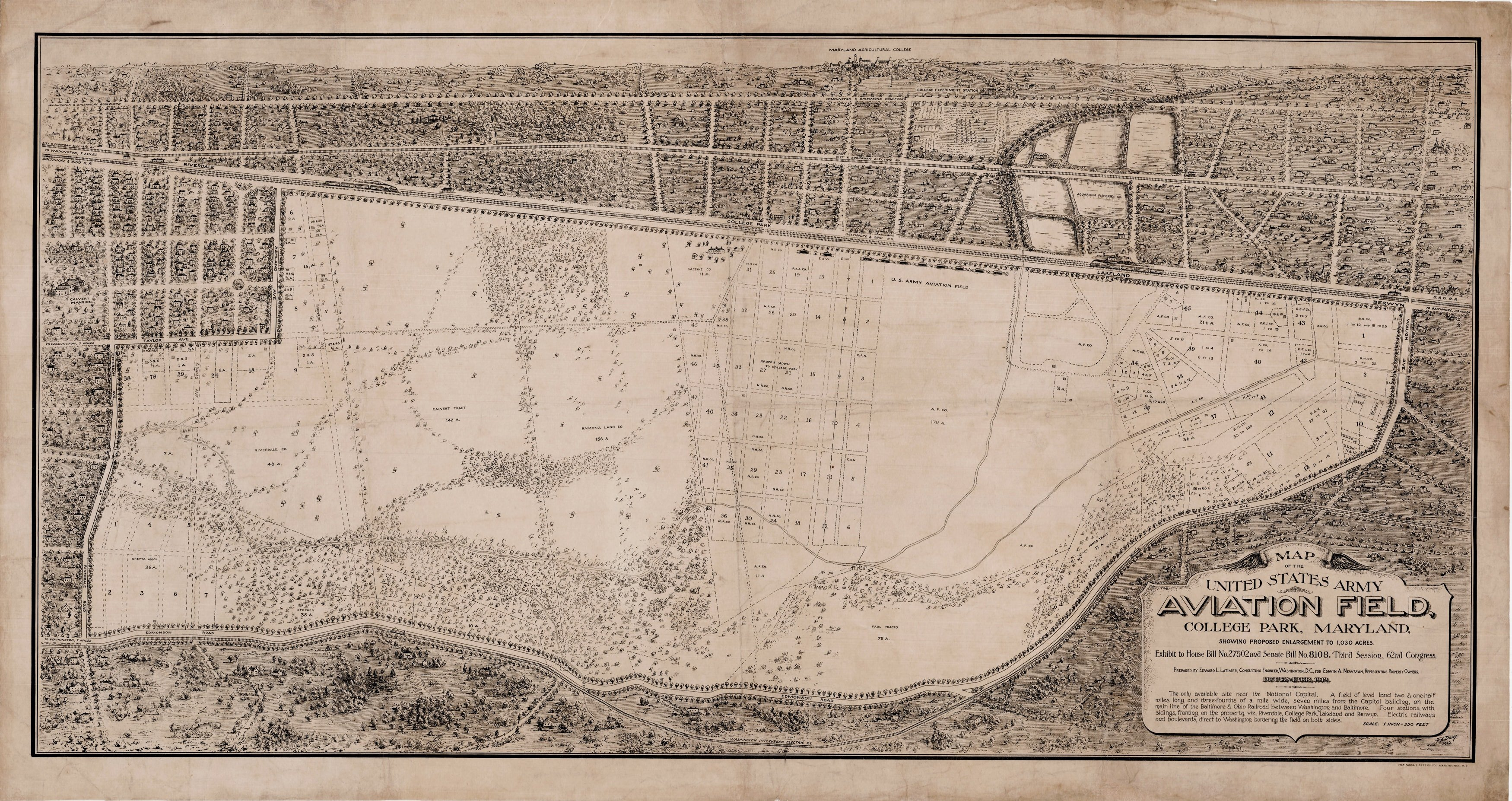 1912 Map Of The Army Airfield At College Park