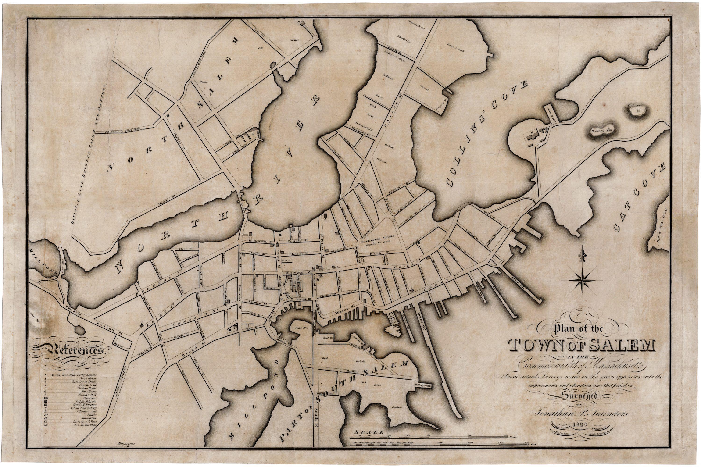 Antique Boston Map.A Salem Massachusetts Rarity Rare Antique Maps