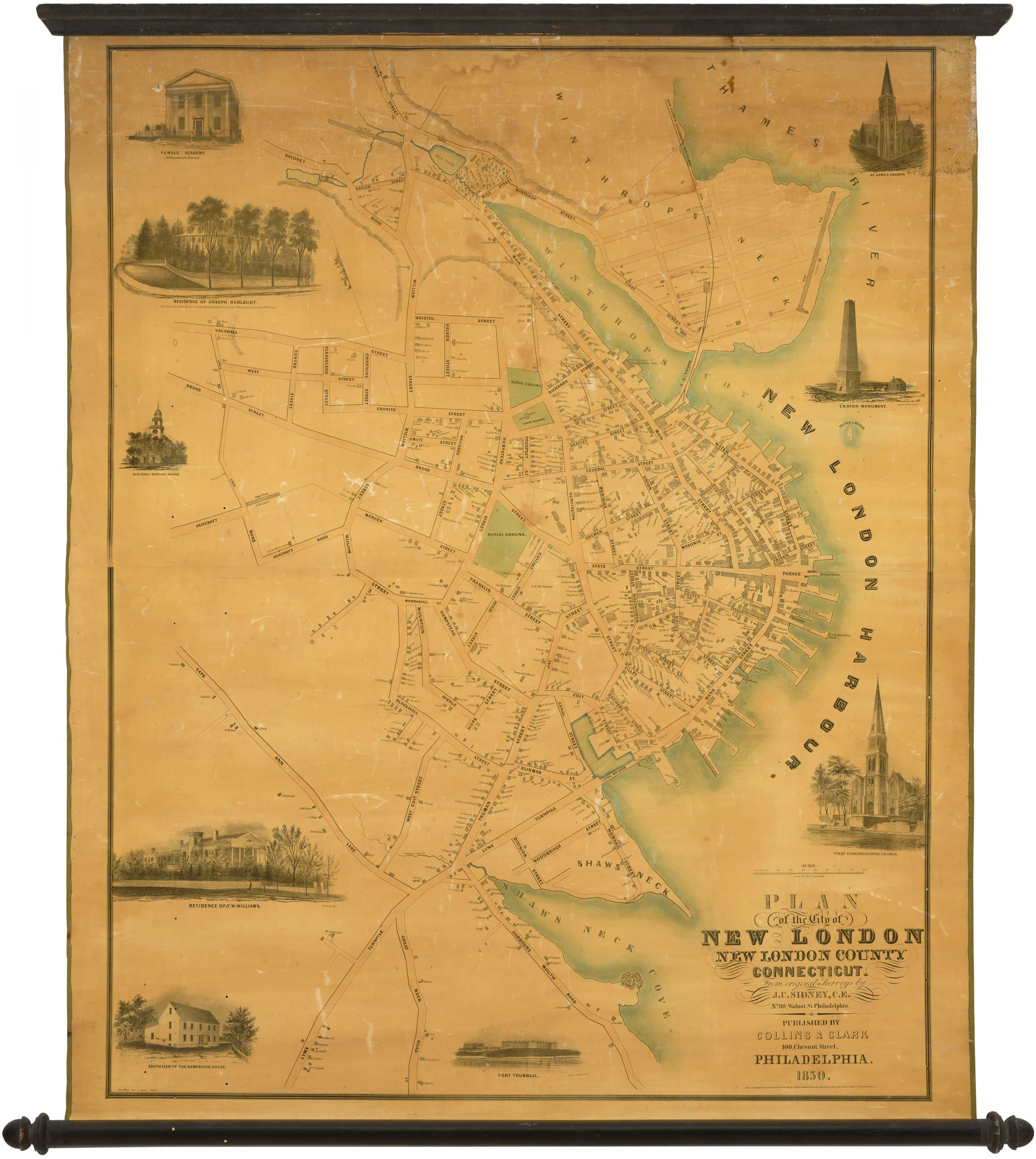 London Atlas Map.1850 Wall Map Of New London Connecticut