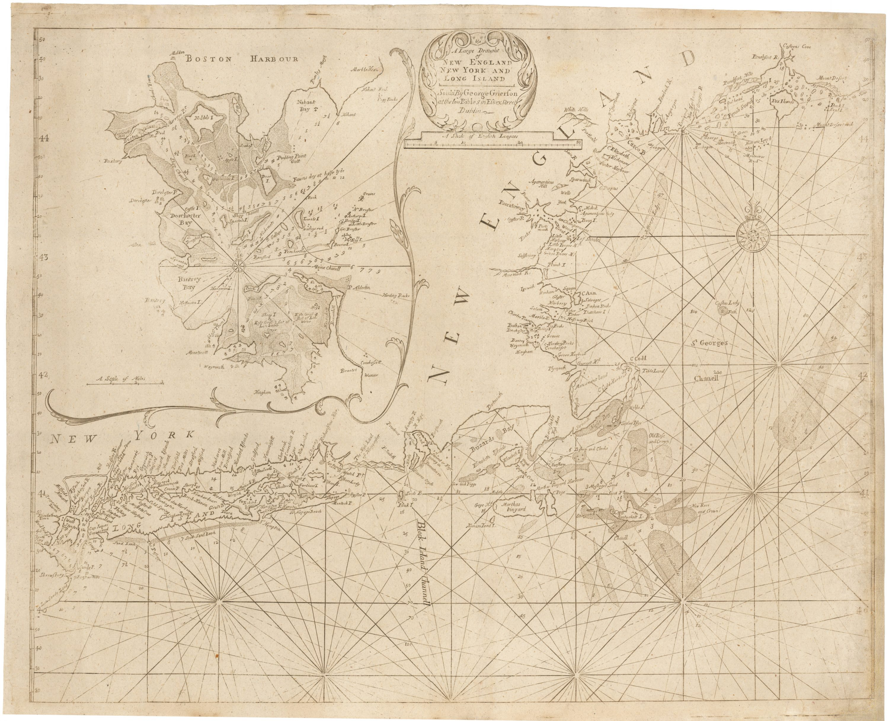 New England chart from the rare George Grierson edition of The ...