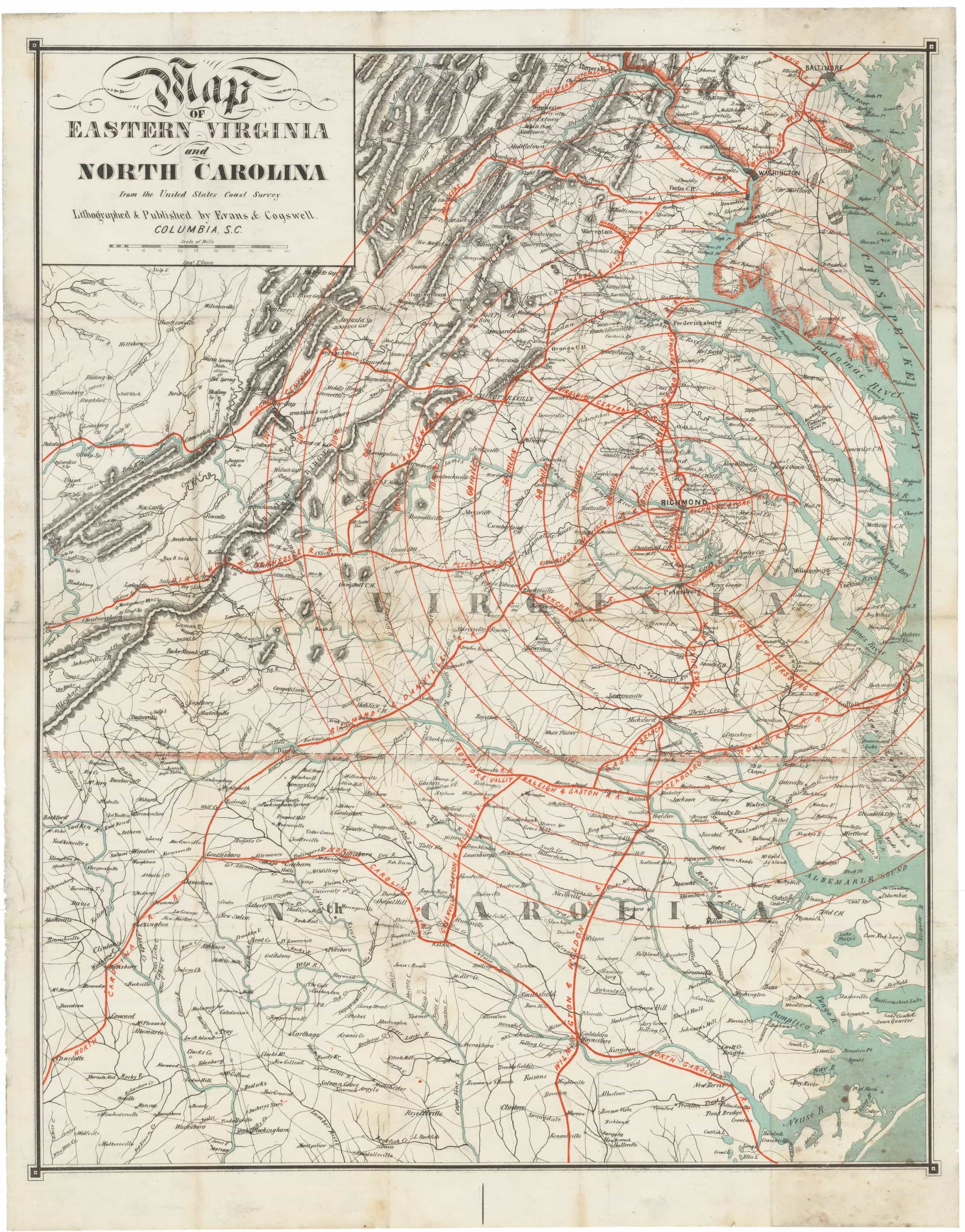 Rare Confederate-imprint map by Evans and Cogswell - Rare & Antique Maps