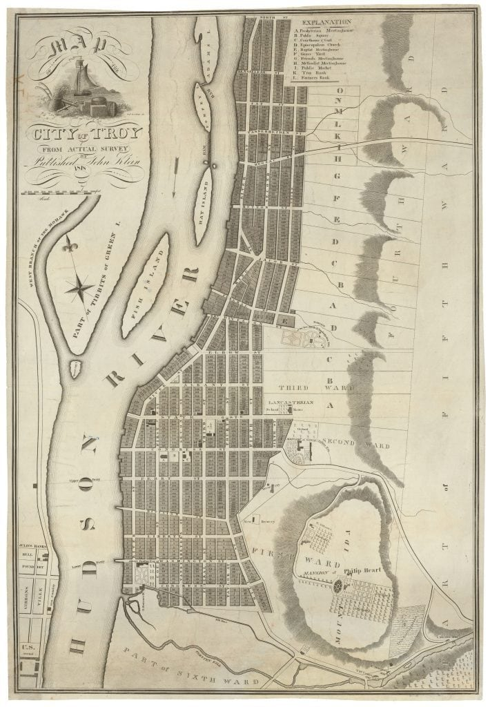 The First Printed Map Of Troy New York