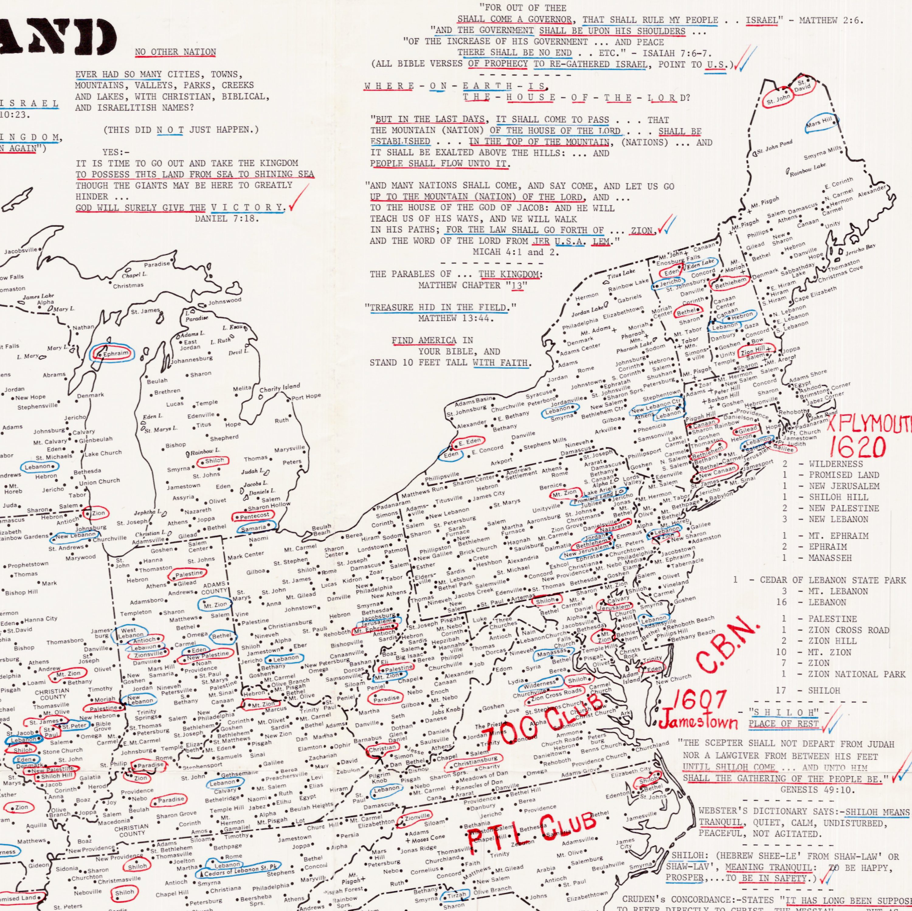 Evangelical Map Of The United States As The New Promised Land Rare - Map-of-us-government