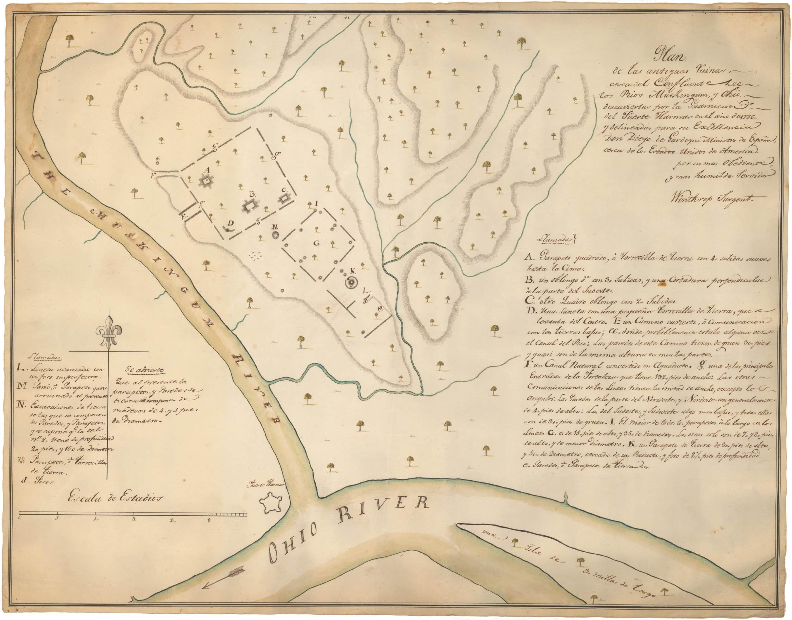 Important 18th-century mcript map of the Indian mounds at ... on