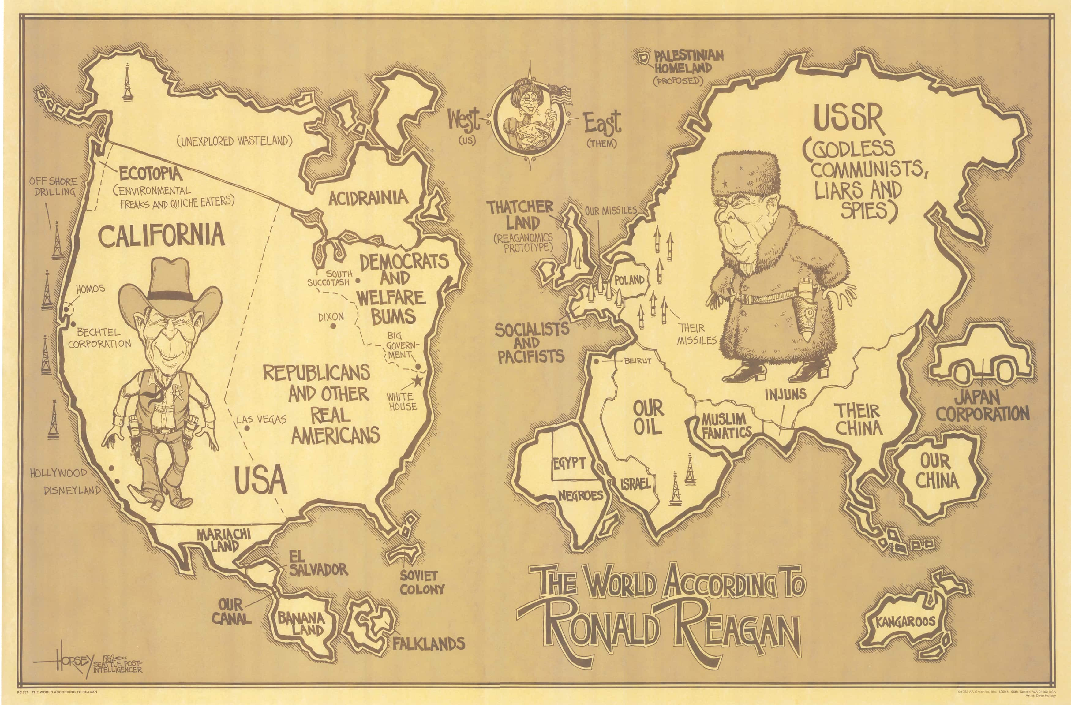 1982 david horsey map of the world according to ronald