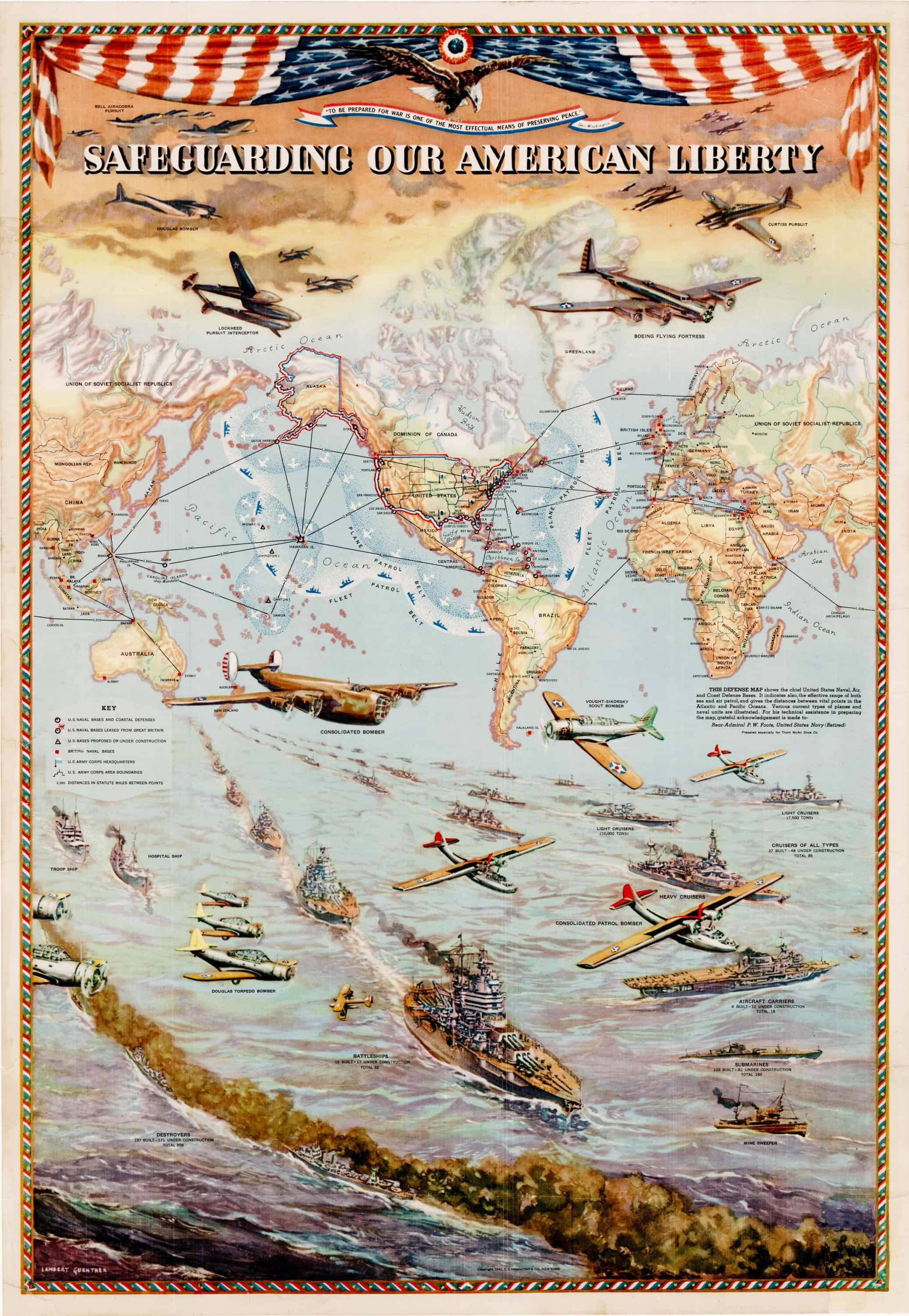 Pictorial Map Conveying American Military Might On The Eve Of The - Us-military-world-map