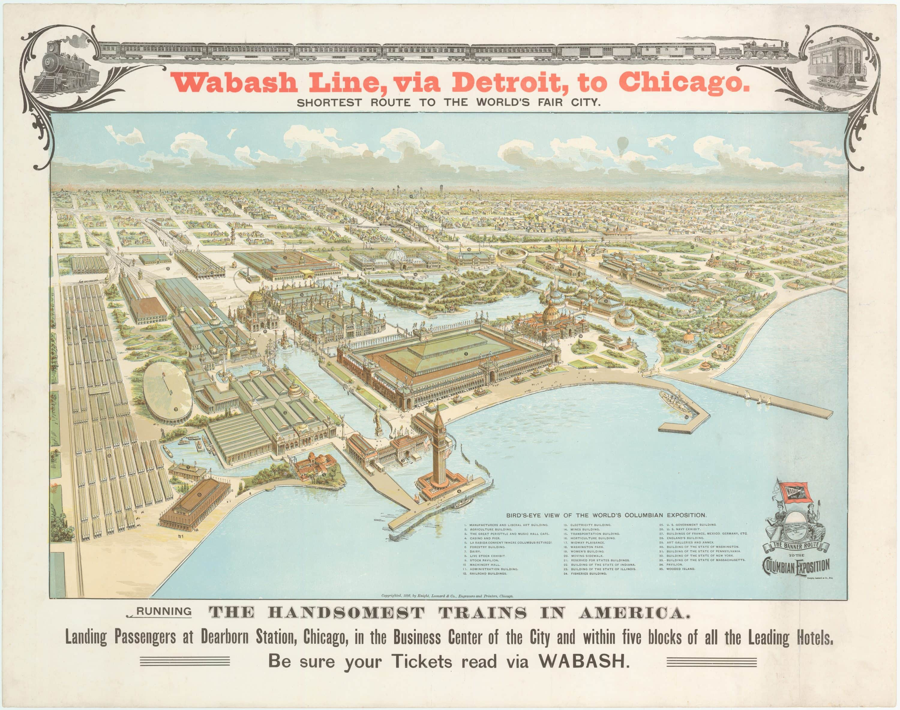 Shortest Route Between Chicago And >> An Unrecorded Columbian Exposition Promotional View Rare Antique