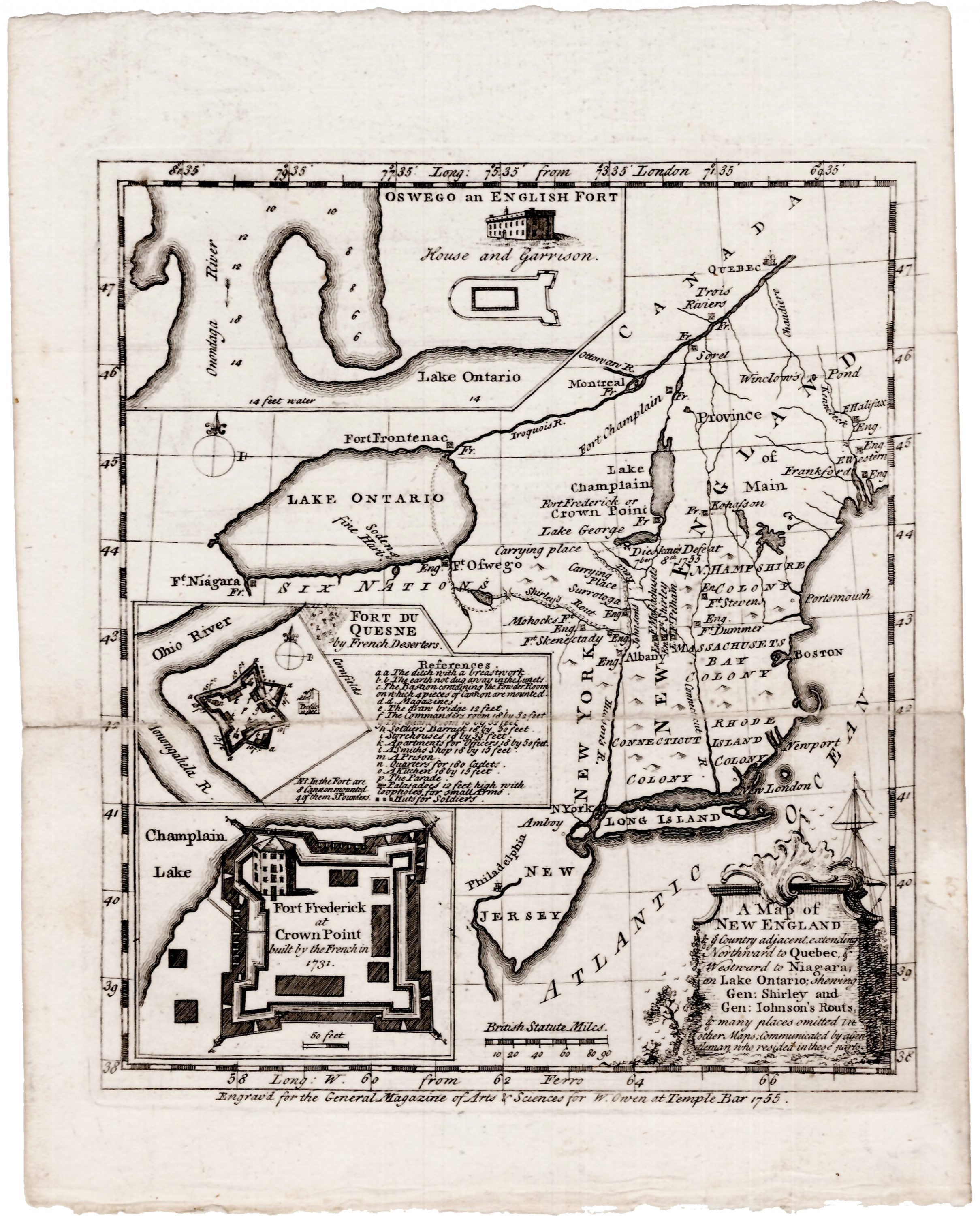 The Map Shop London.1755 Map Of The Northern Theatre Of The French And Indian War Rare