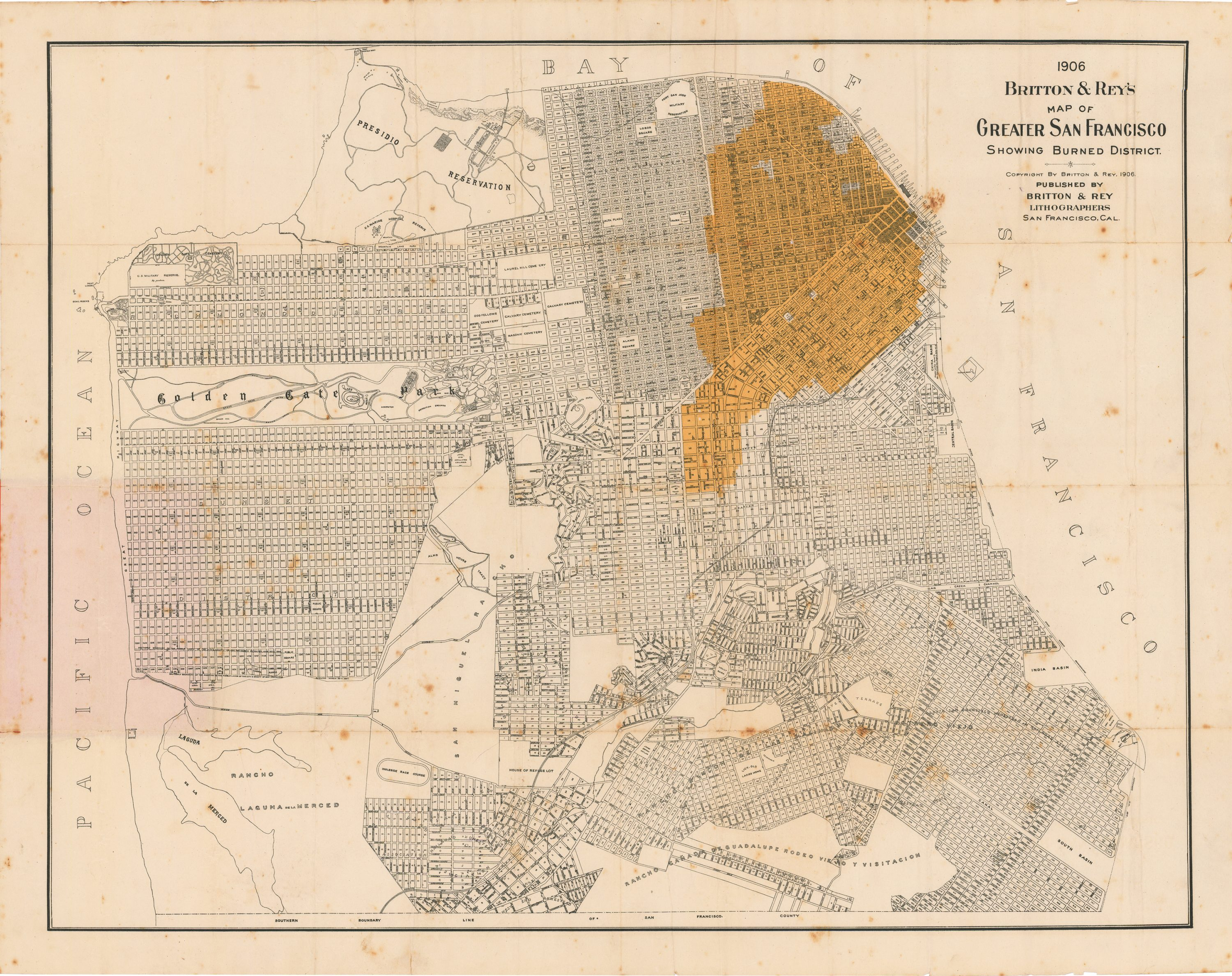 Unrecorded Map Of The Destruction Following The San Francisco