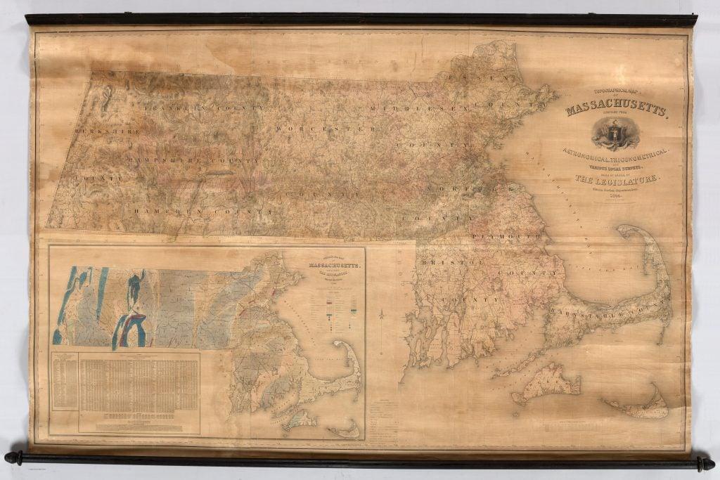 Simeon Borden, Topographical Map of Massachusetts. Boston, 1844.