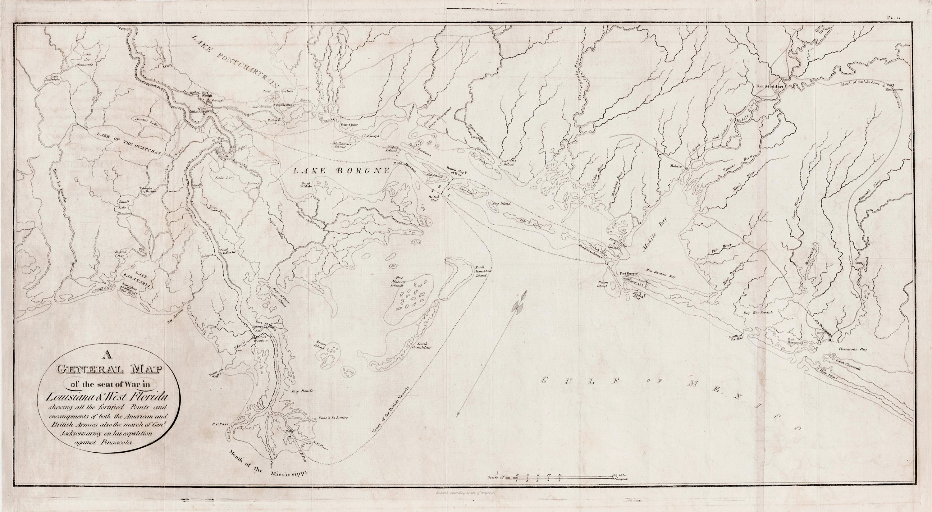 West Florida Map.1816 Map Of The Seat Of War In Louisiana West Florida Rare
