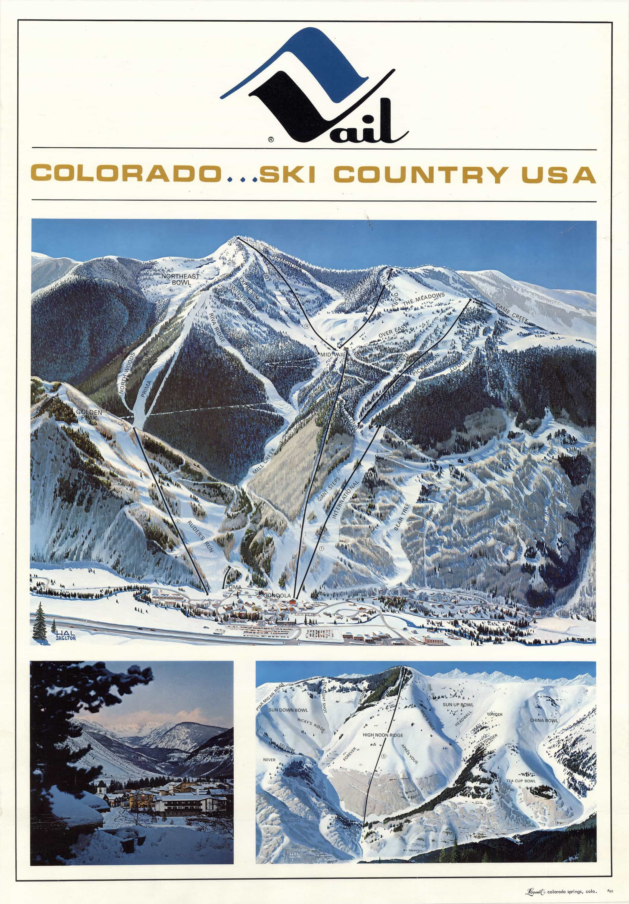 Map of Colorado\'s Vail ski resort in its earliest years - Rare ...