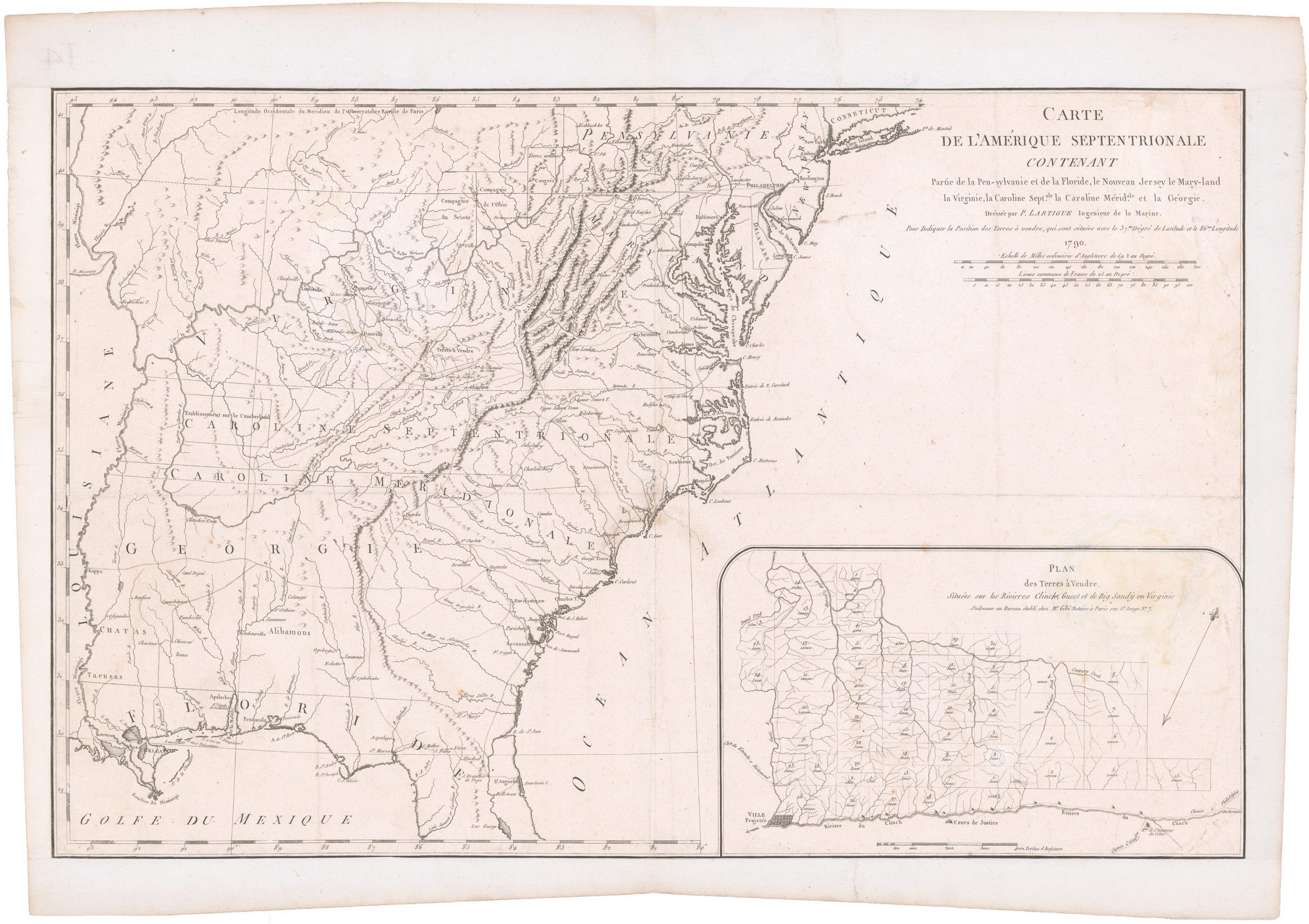 Unrecorded 1790 Map Promoting A French Colony In Western Virginia