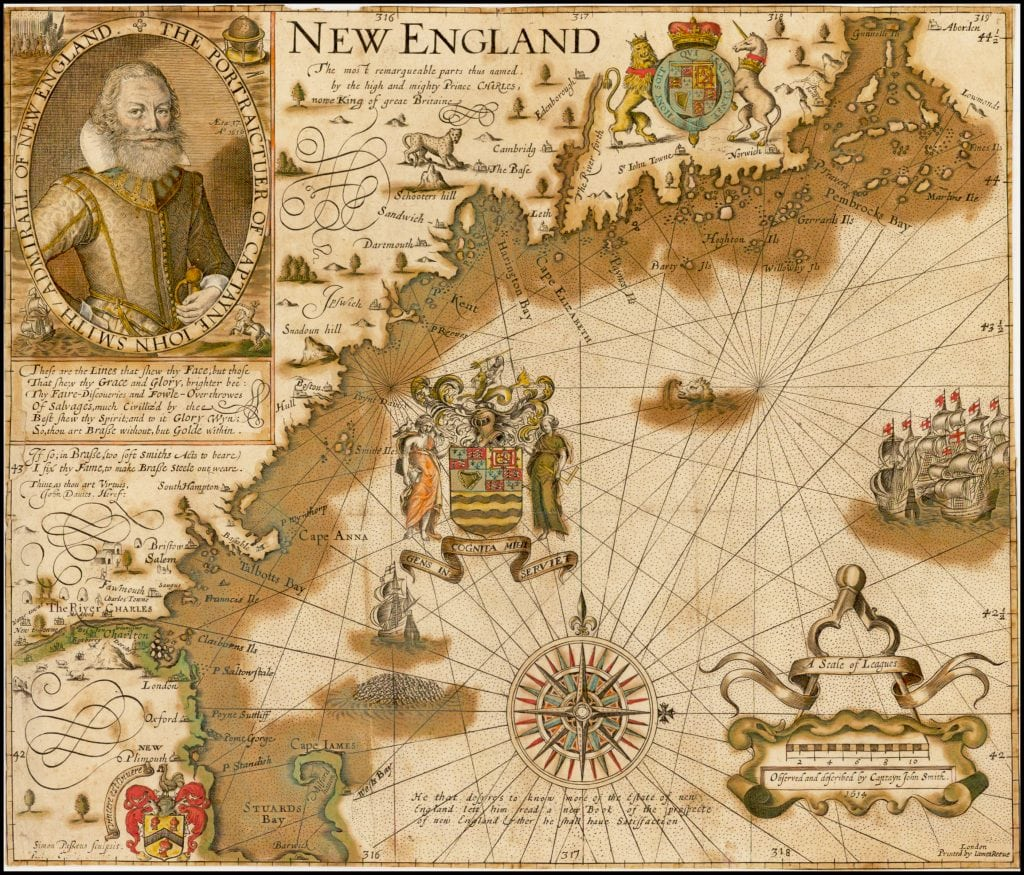 John Smith (mapmaker) / Simon Passaeus (engraver) / James Reeve (printer), NEW ENGLAND The most remarqueable parts thus named by the high and might Prince CHARLES, Prince of Great Britaine. London, [1616/1635.]